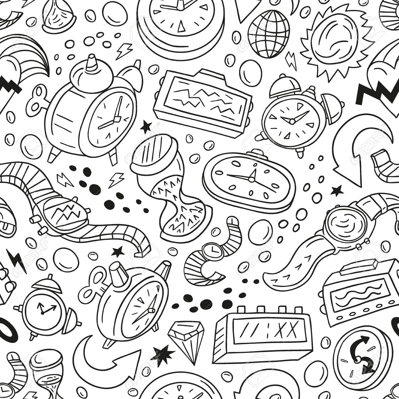 Time,watches - seamless vector pattern Stock Vector - 18570280