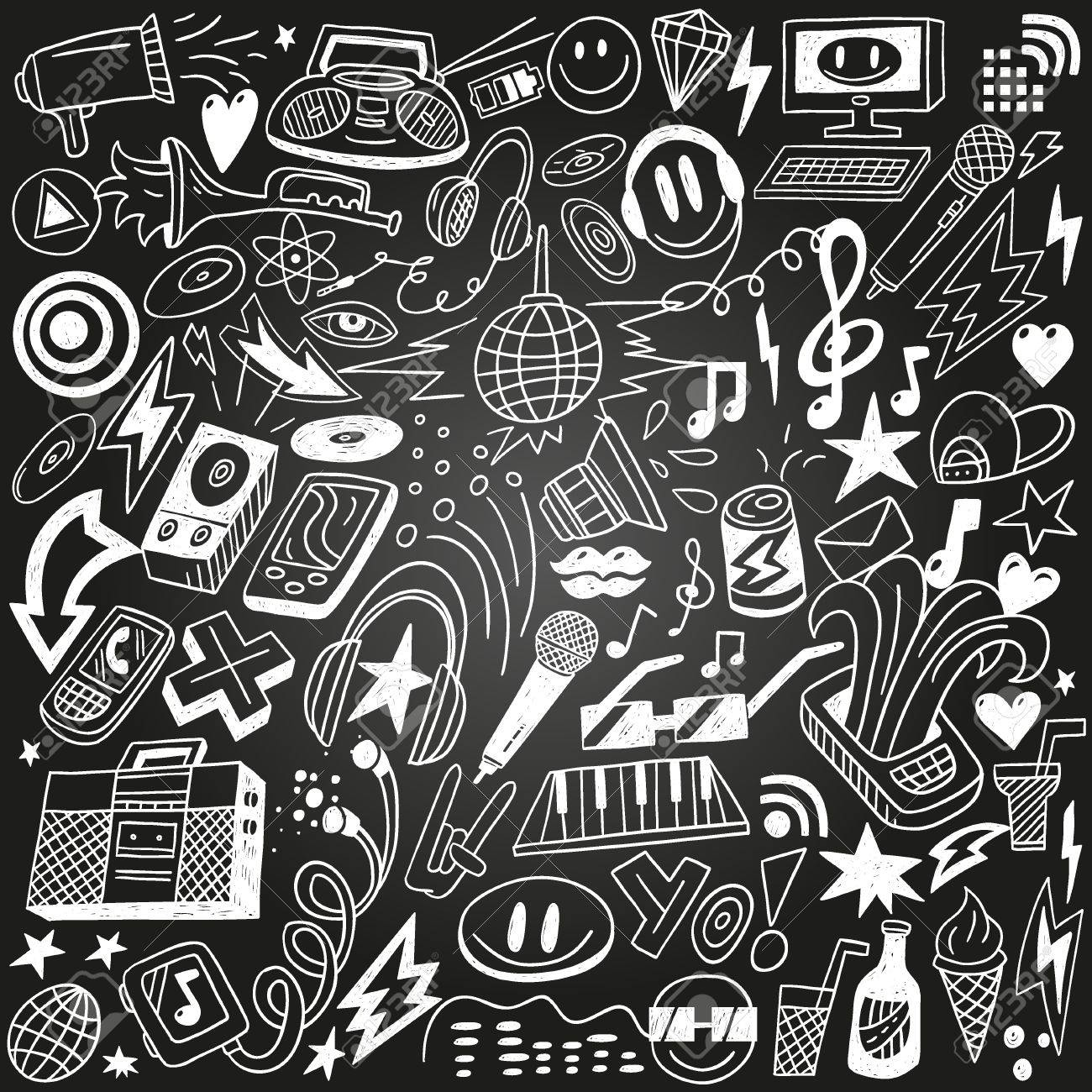 music party - doodles set Stock Vector - 18656024