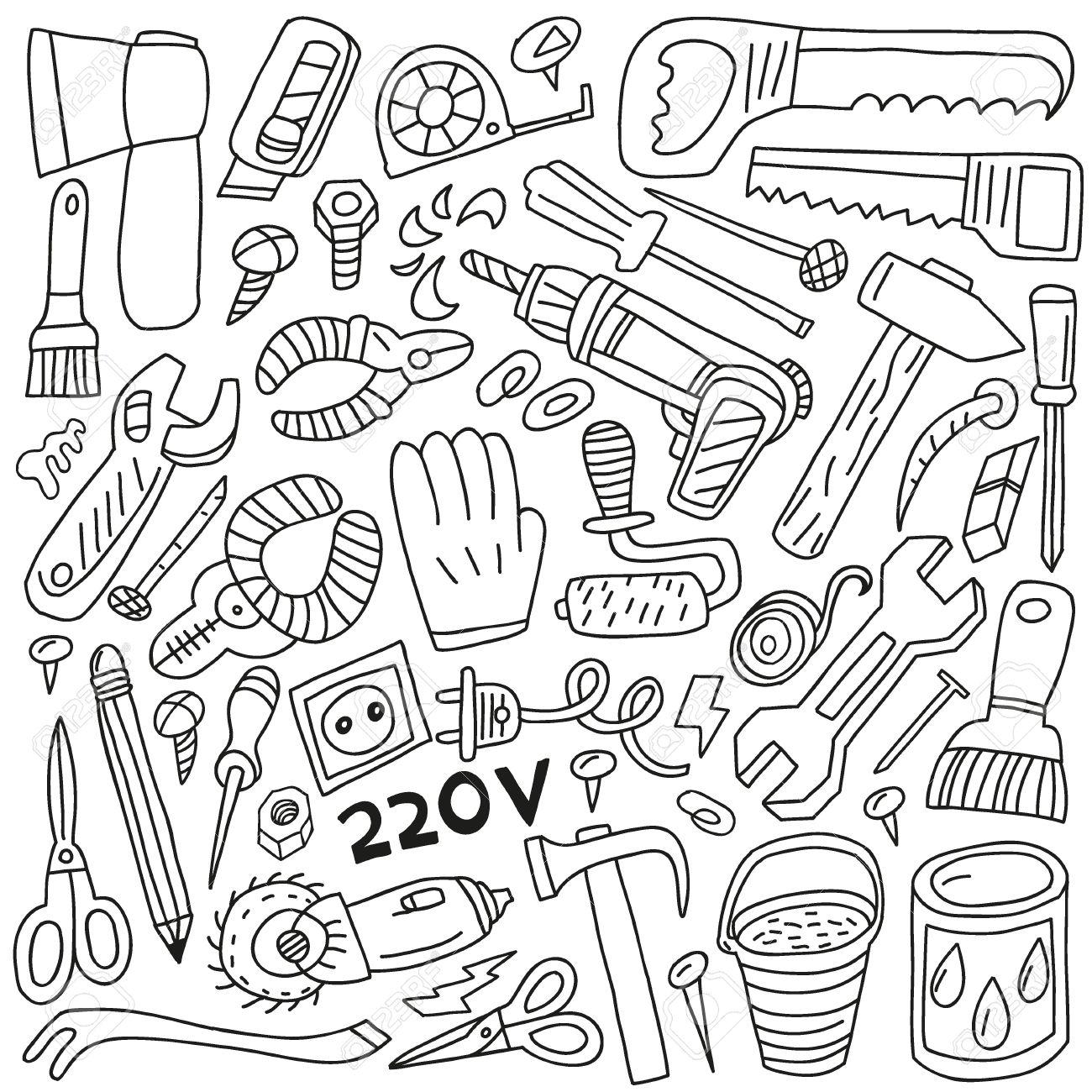 work tools - doodles Stock Vector - 19654344