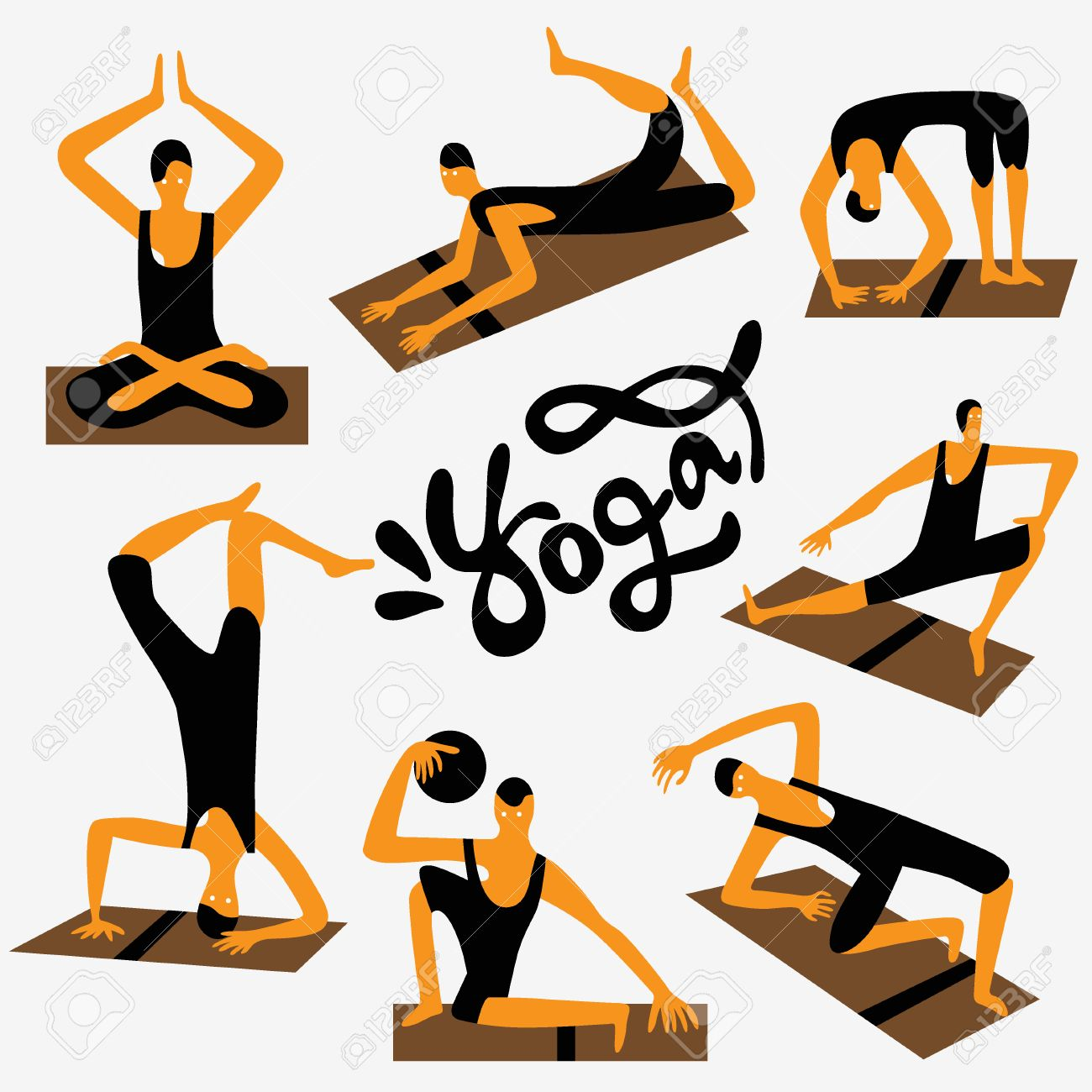 Yoga Character Set Vector Cartoons Design Elements Royalty Free Cliparts Vectors And Stock Illustration Image 42155299