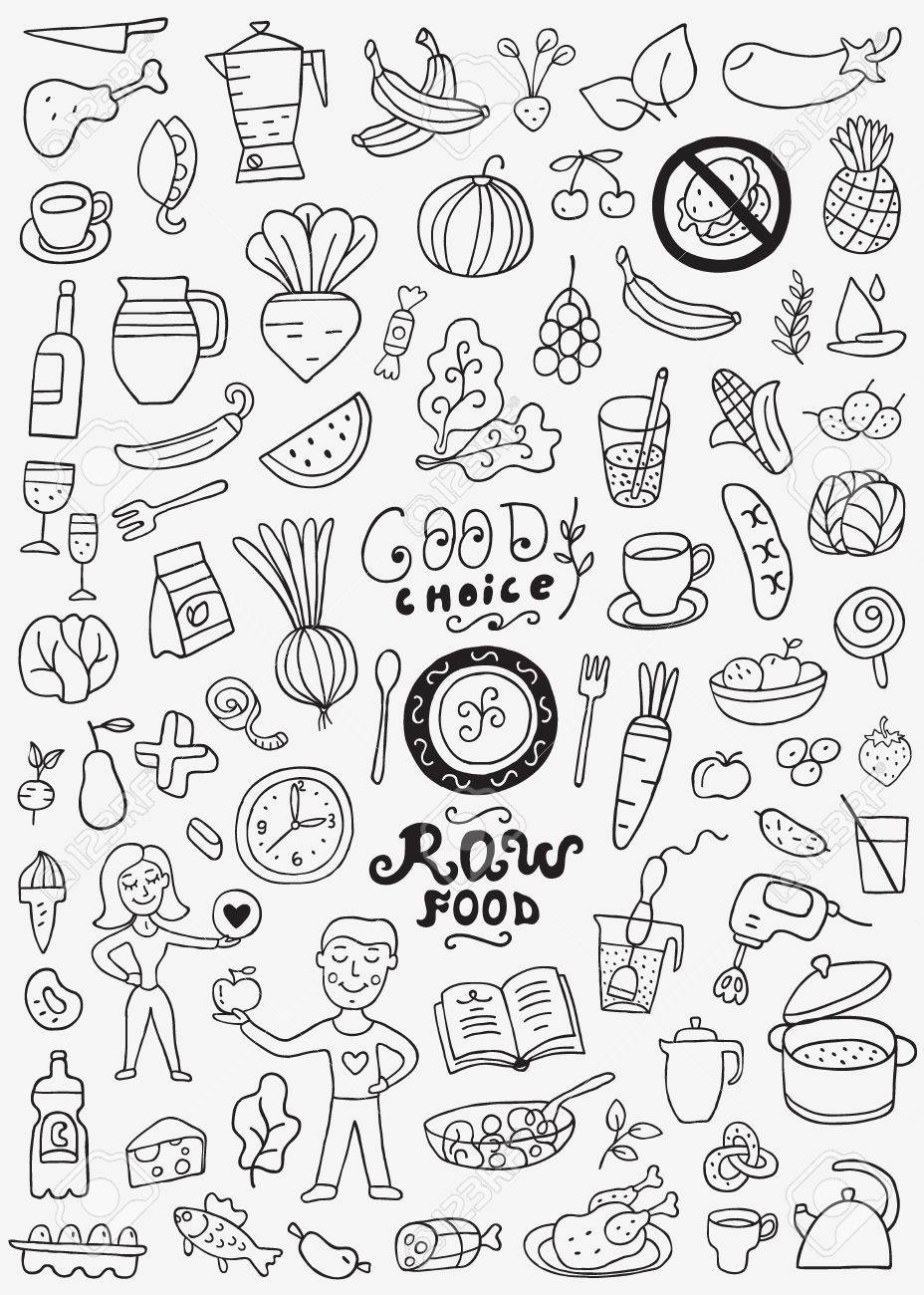 Raw Food Doodles Royalty Free Cliparts Vectors And Stock