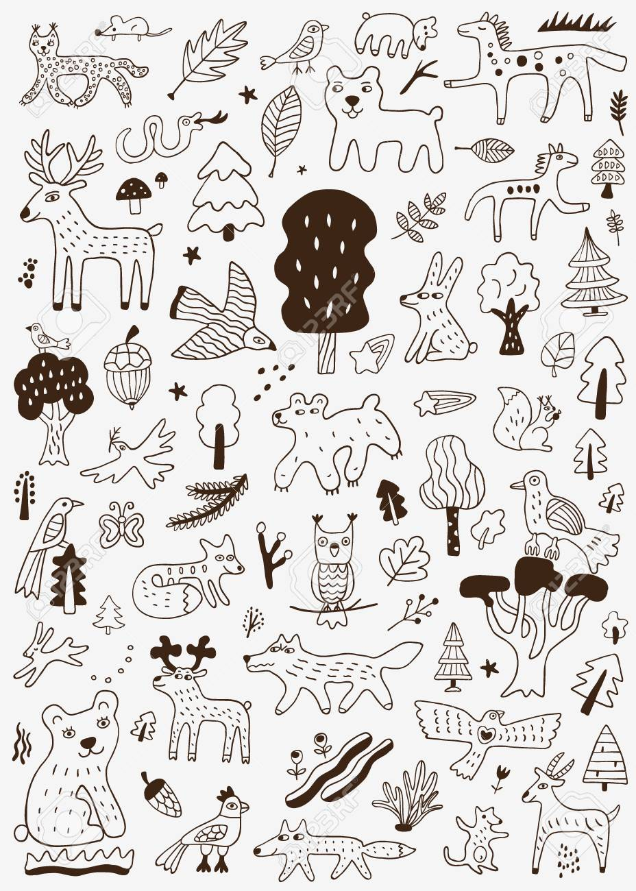 Forest animals nature symbols doodle set pencil drawings stock vector 110276646