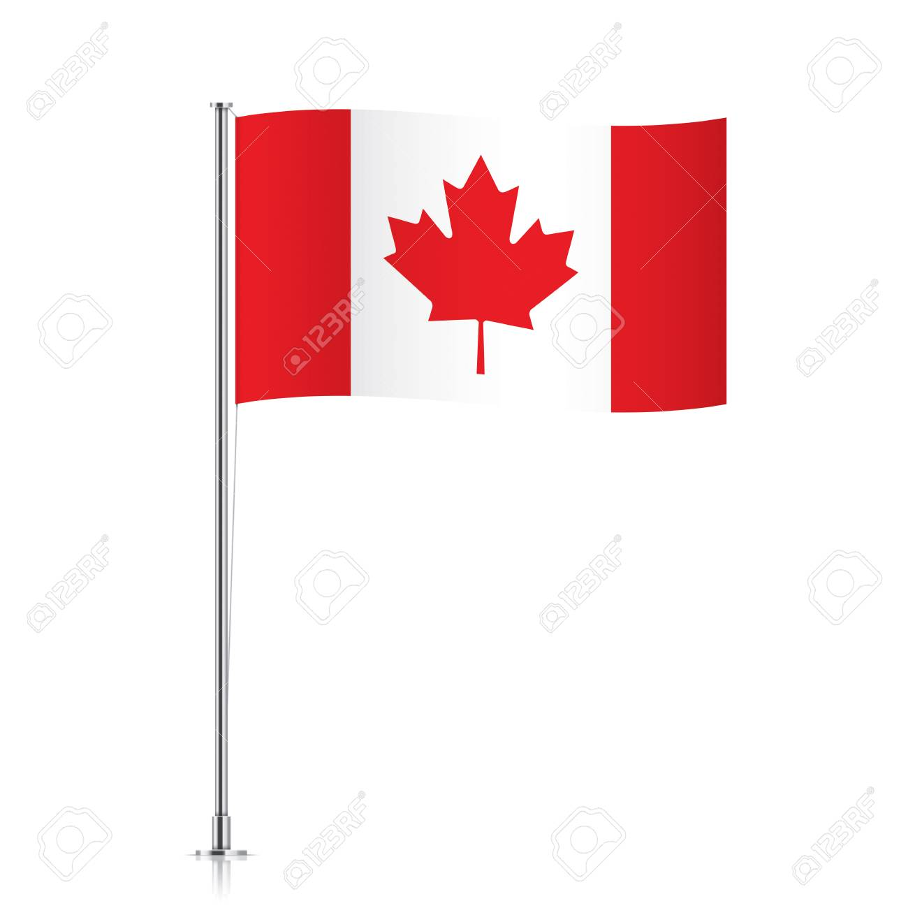 Canada Vector Flag Template Waving Canadian On A Metallic Pole Isolated
