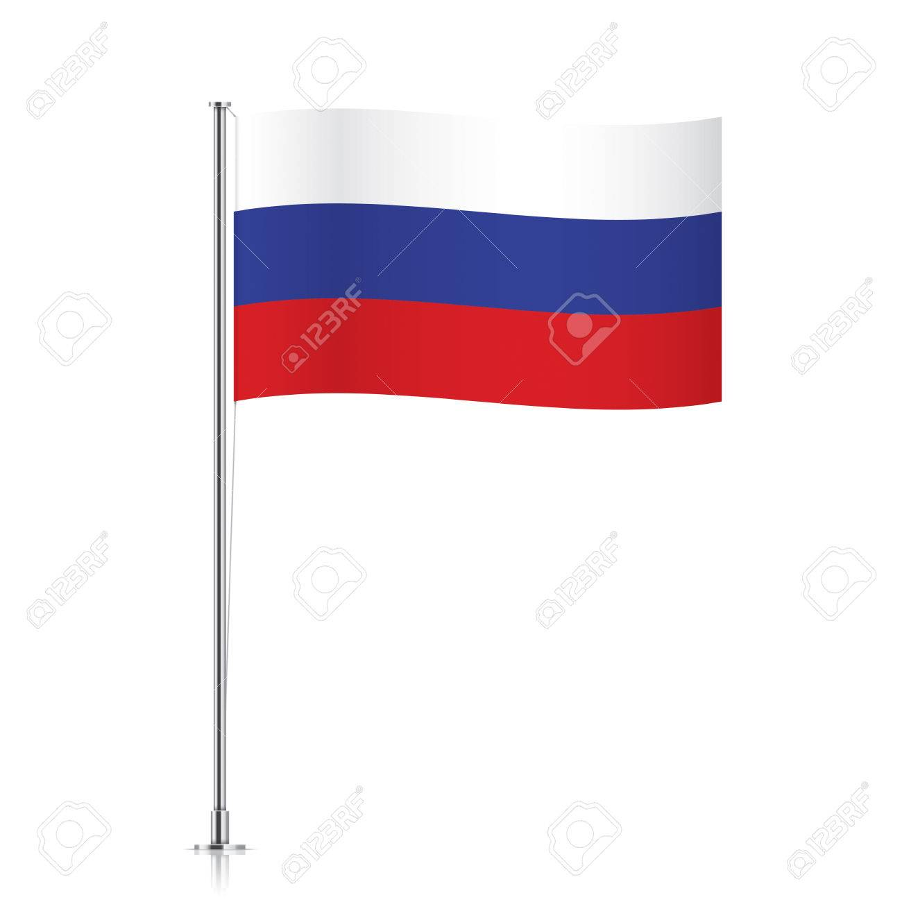 Russian Vector Flag Template Waving Flag Of Russia On A Metallic