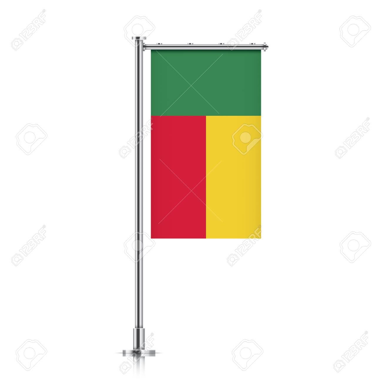 Bandera De Bandera De Vector De Benin Colgando De Un Poste Metálico ...