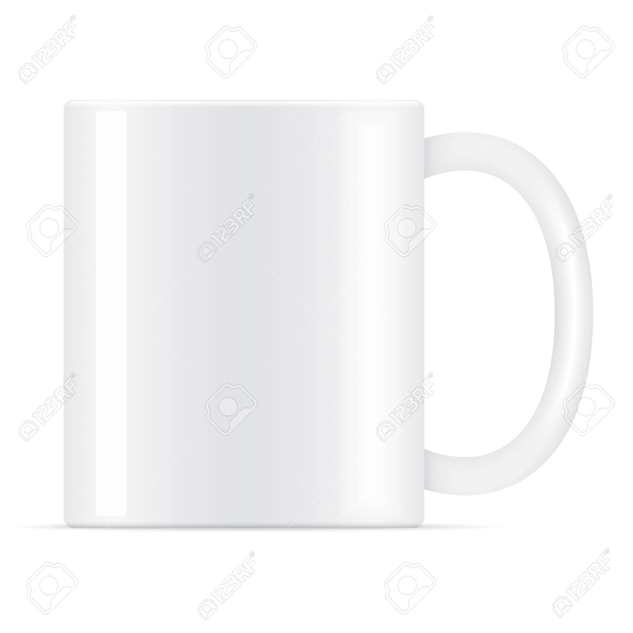White Vector Coffee Mug Template Isolated On A Background. Mug ...