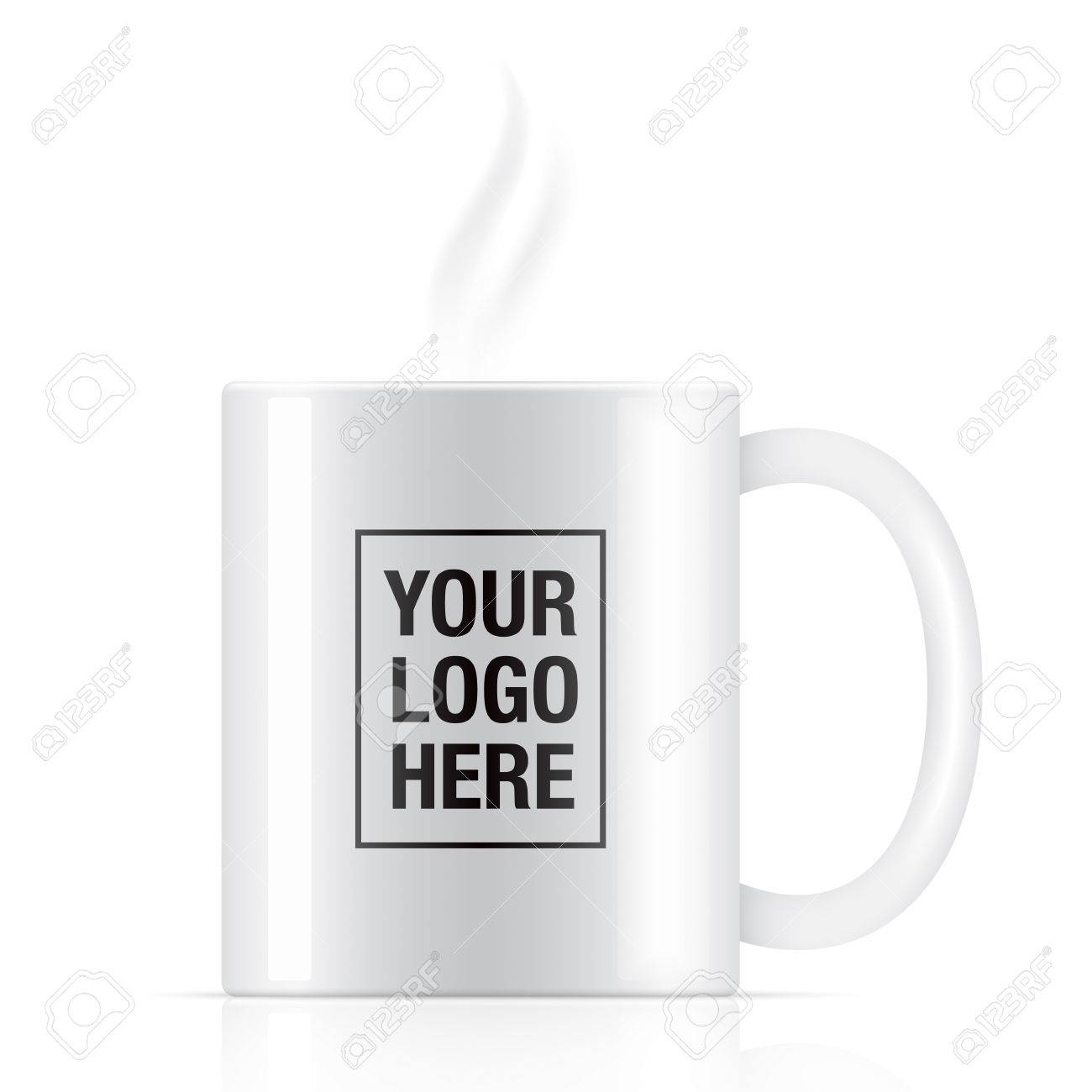 White Vector Coffee Mug Template Isolated On Background. Steam ...
