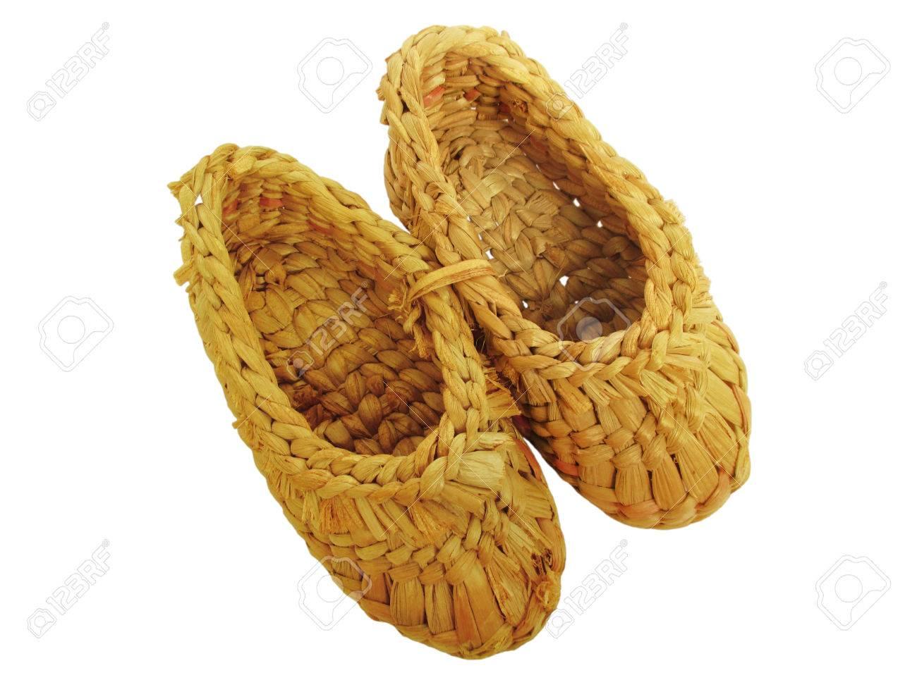 Les Sandales De Jaune à La Main En Osier De Paille Chaussures