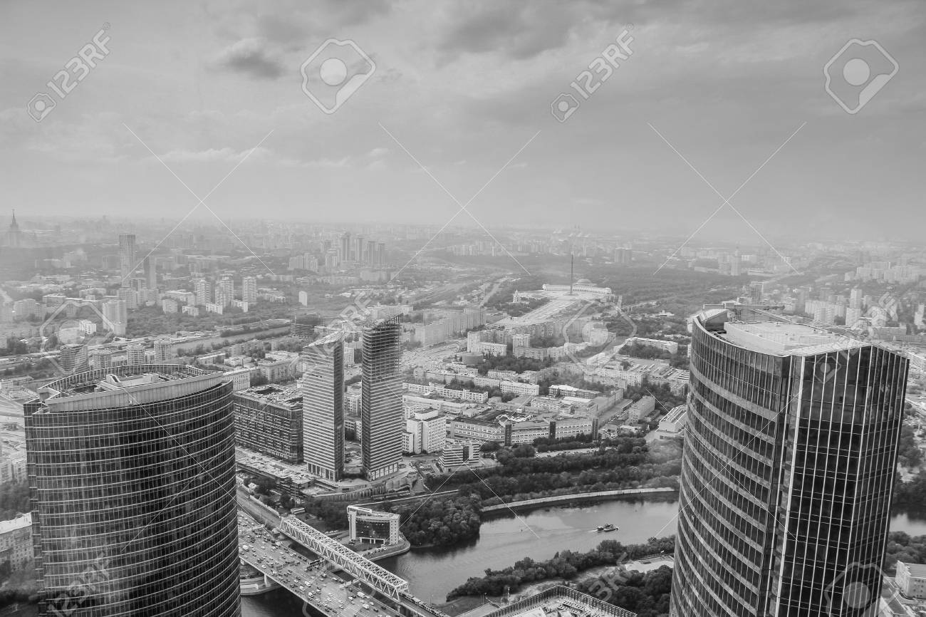 Panoramic view of the moscow city black and white urban photo