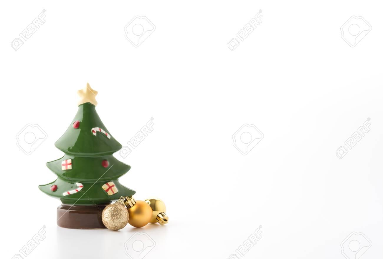 White Ceramic Christmas Tree.Ceramic Christmas Tree On White Background