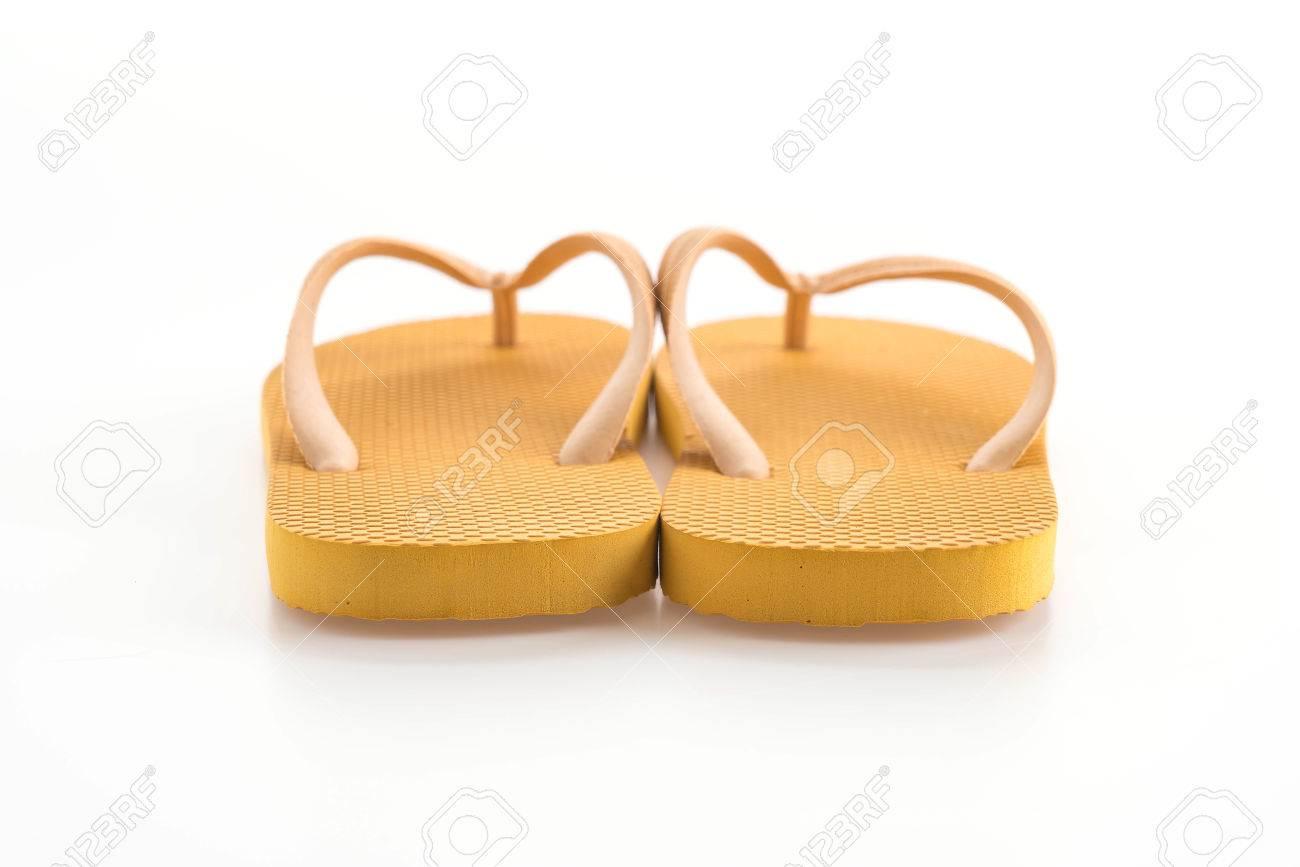 6e5d58da4b12 Rubber slippers on white background Stock Photo - 60972543