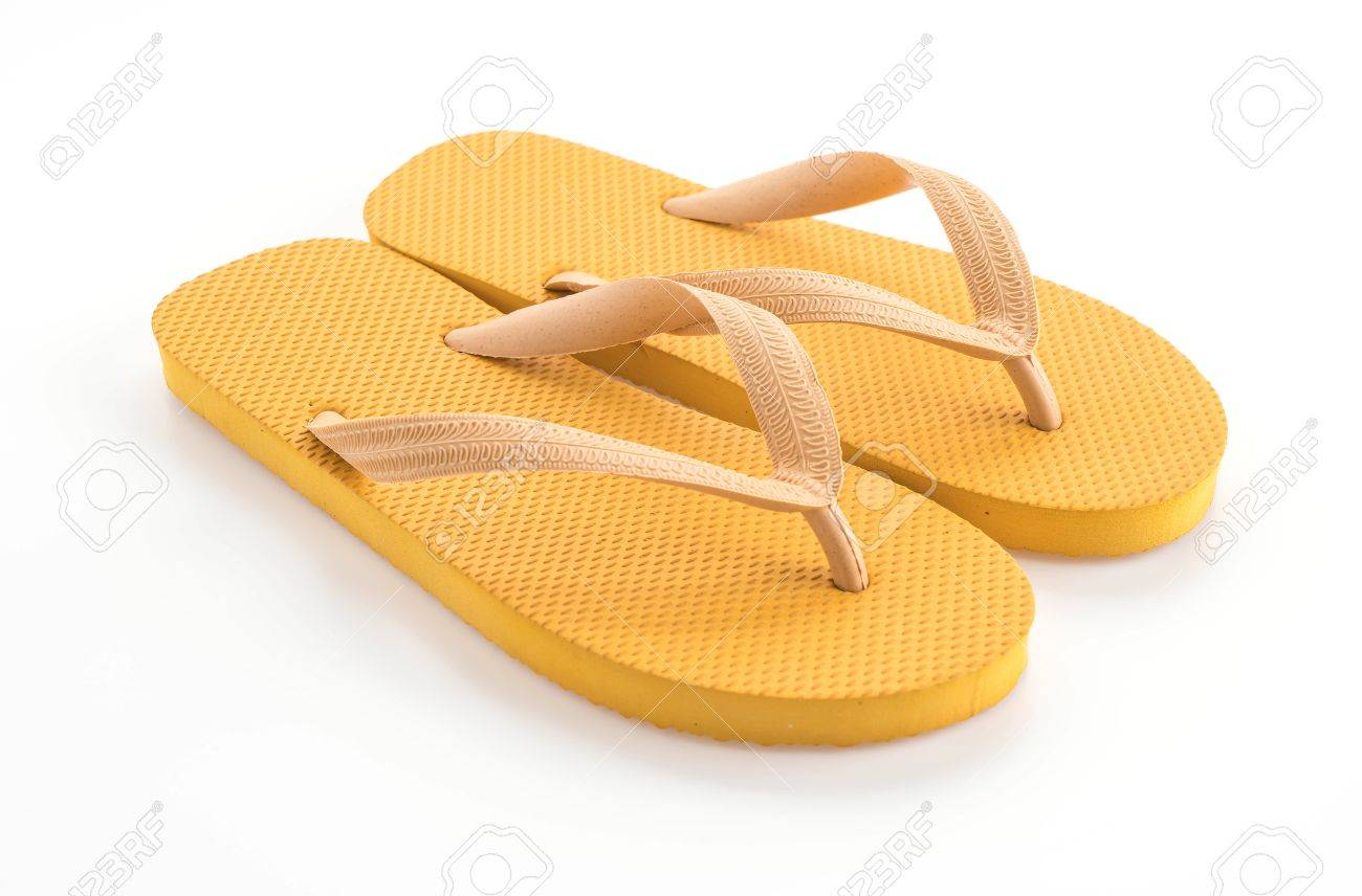 f73867cb4e28 Rubber slippers on white background Stock Photo - 60998114