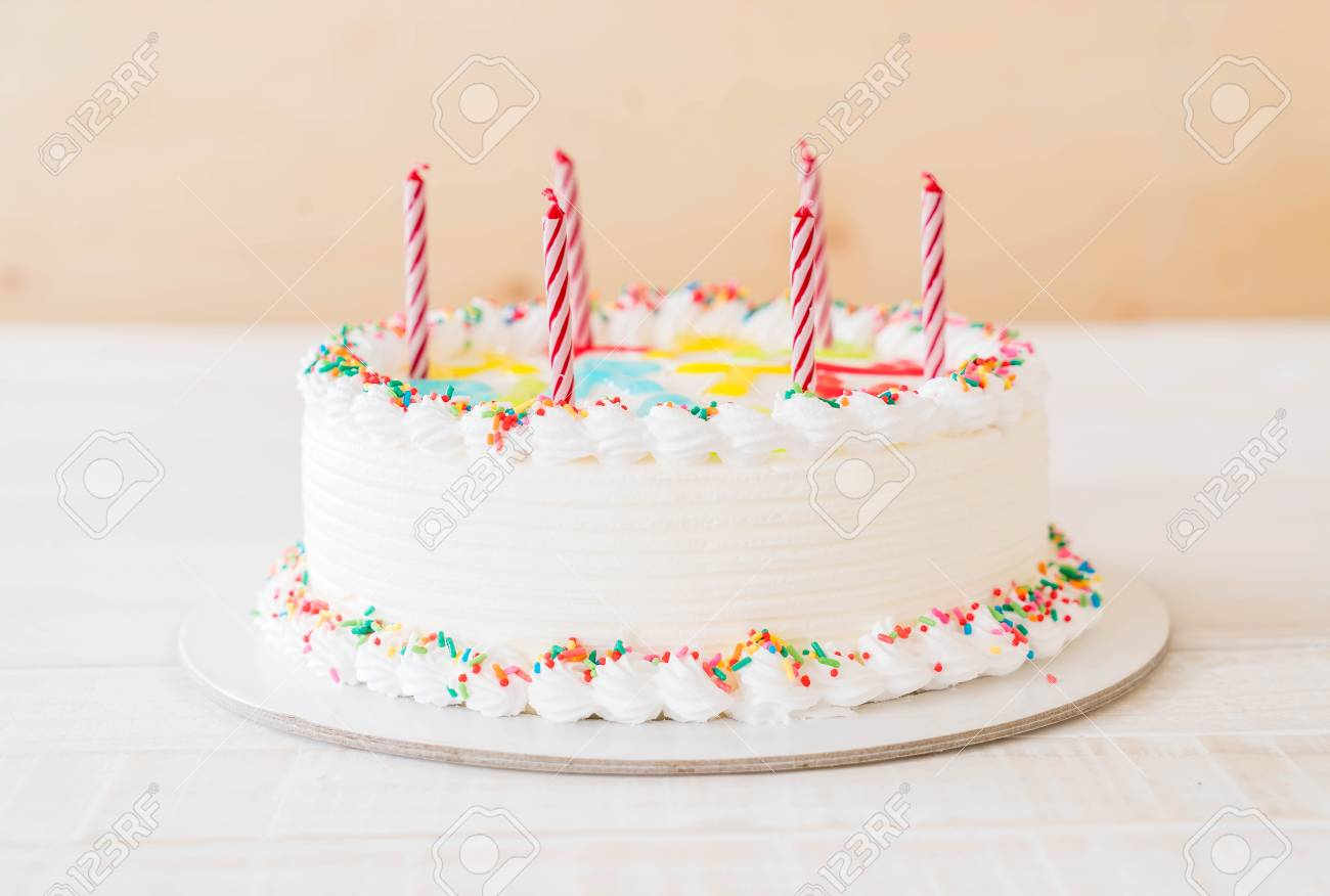 Happy Birthday Cake On Table Stock Photo Picture And Royalty Free
