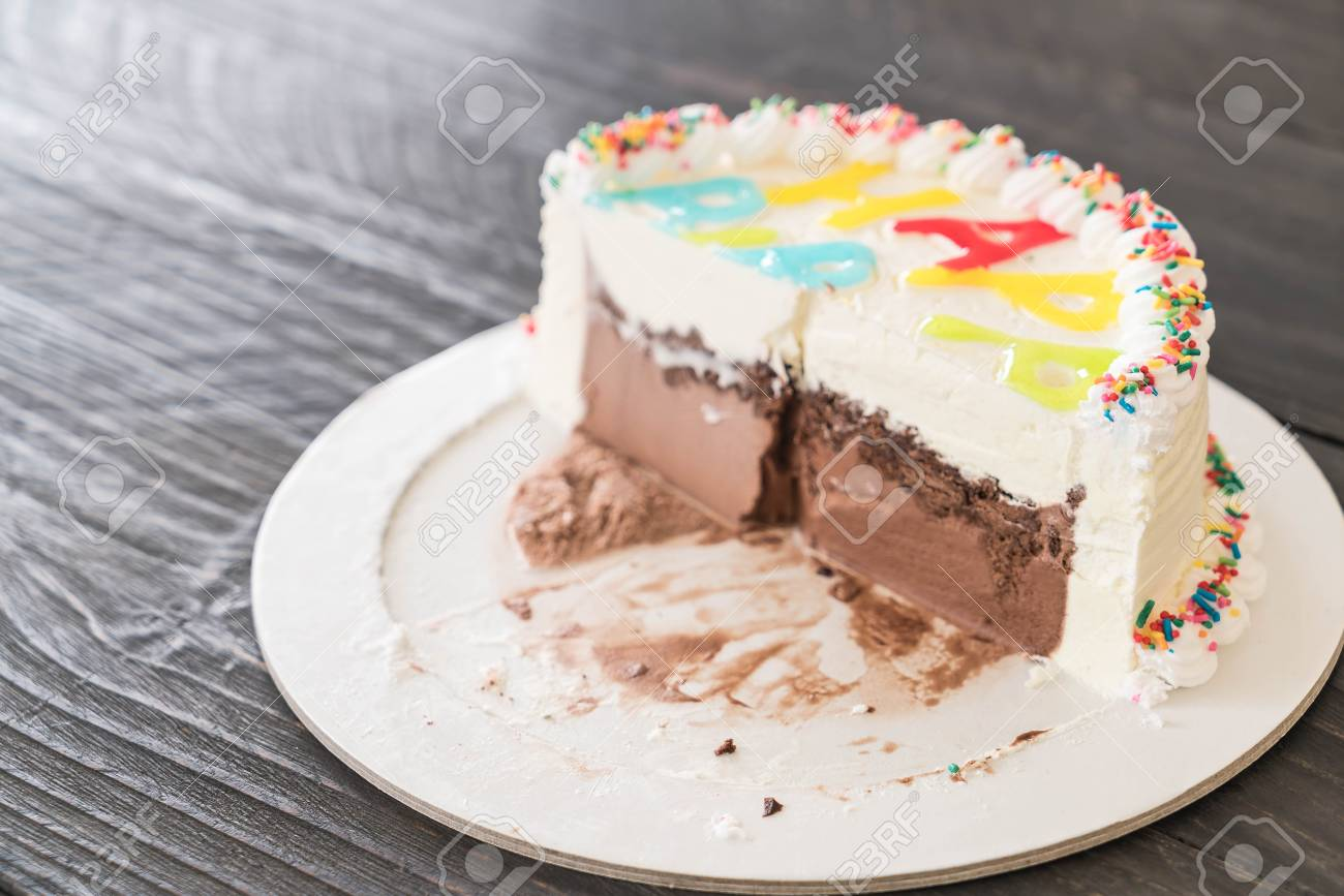 Happy Birthday Ice Cream Cake On Table Stock Photo Picture And