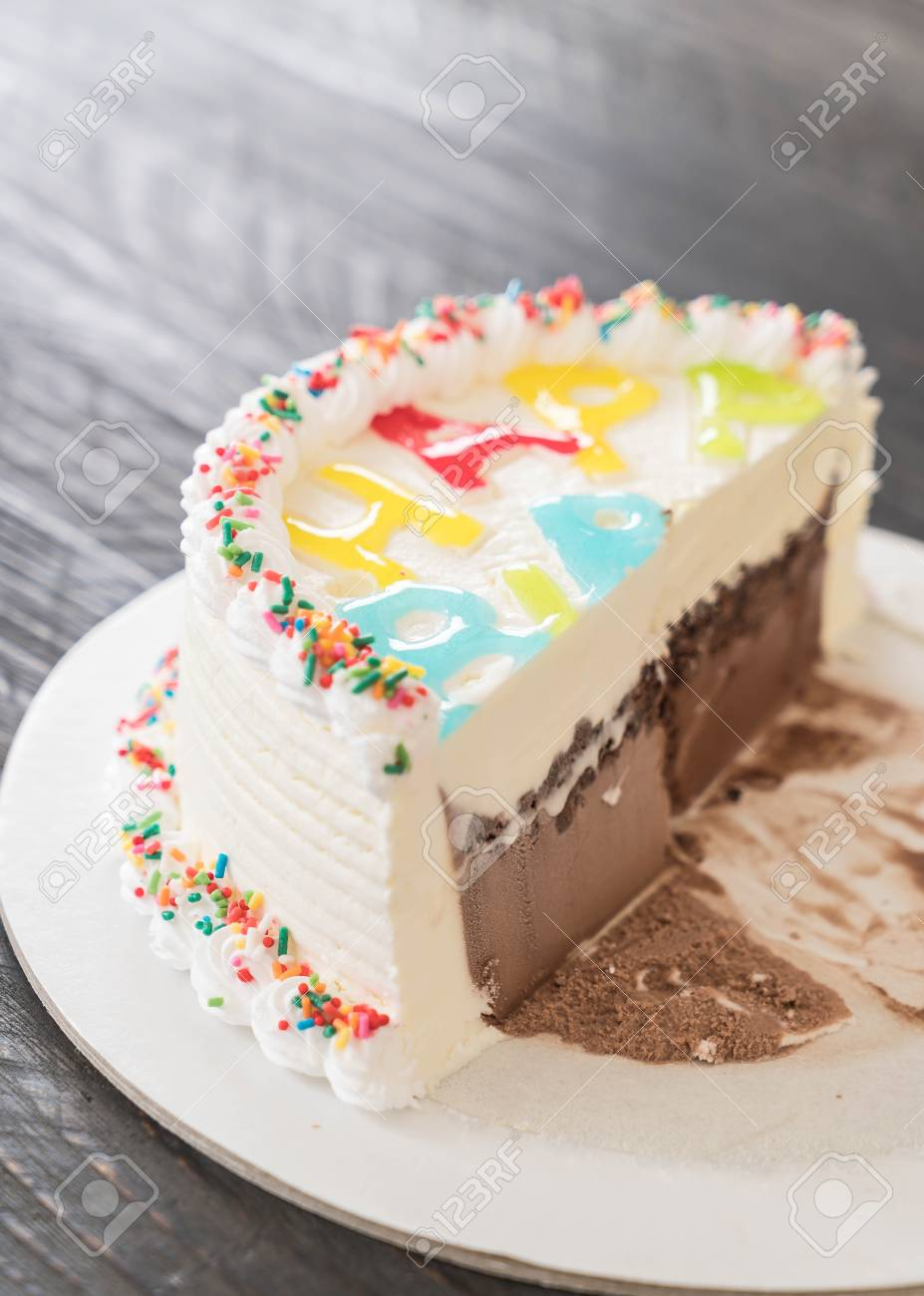 Sensational Happy Birthday Ice Cream Cake On Table Stock Photo Picture And Funny Birthday Cards Online Overcheapnameinfo