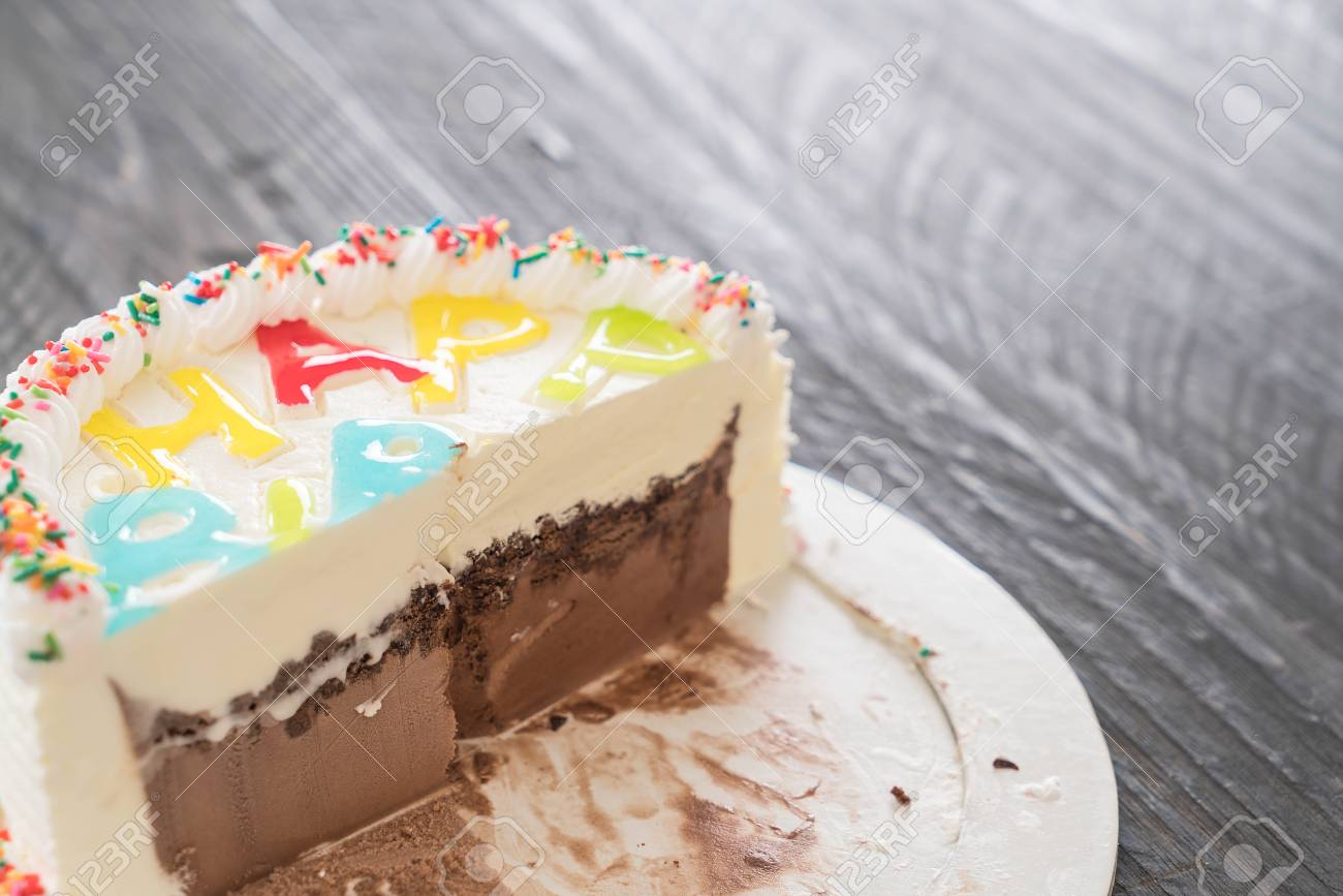 Happy Birthday Ice Cream Cake On Table Stock Photo Picture And