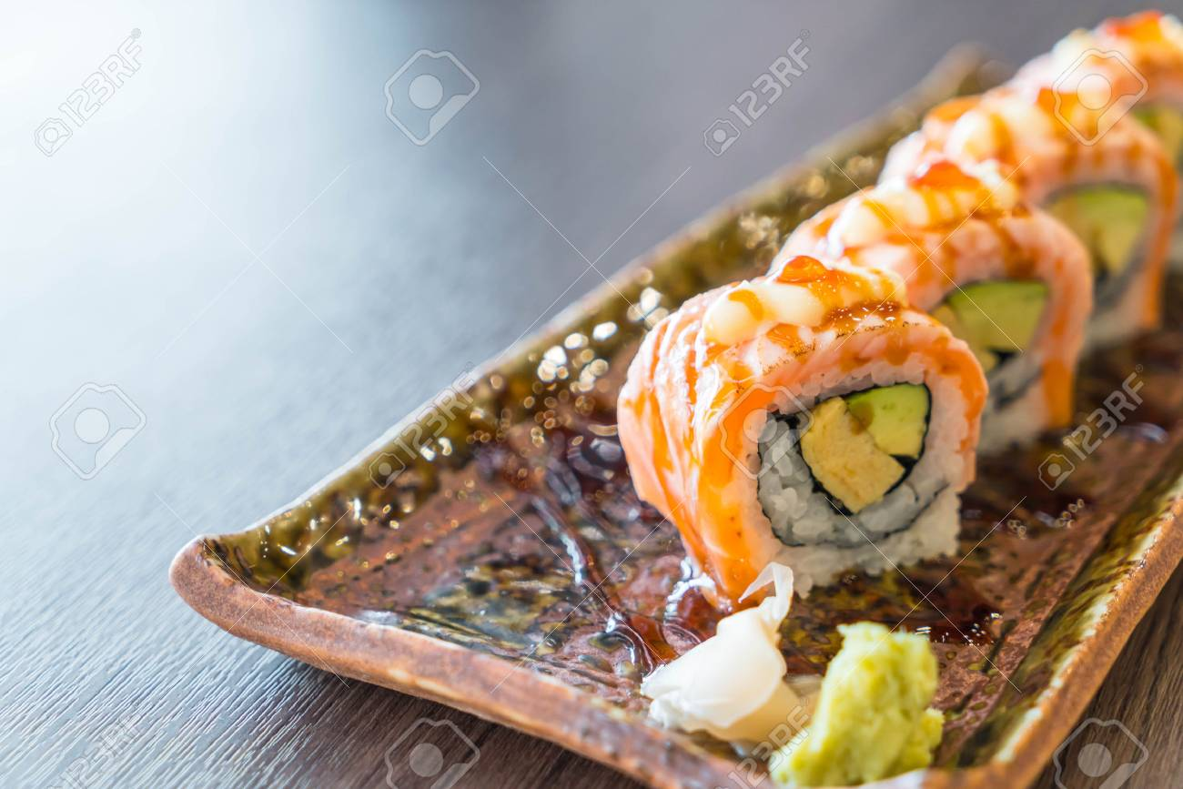 Grilled Salmon Sushi Roll Japanese Food Stock Photo Picture And Royalty Free Image Image 75176436