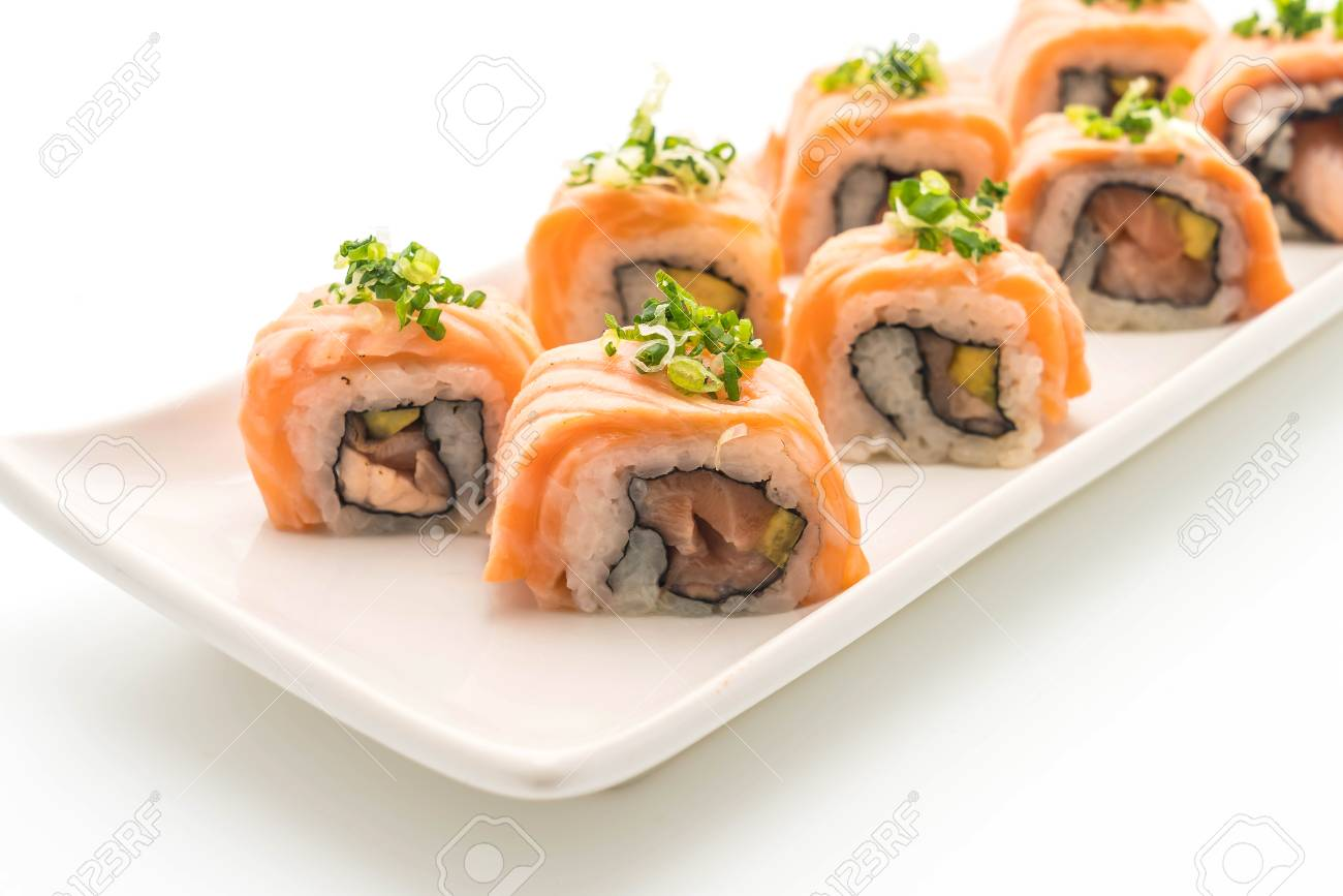 Grilled Salmon Sushi Roll Japanese Food Style On White Background Stock Photo Picture And Royalty Free Image Image 79357163