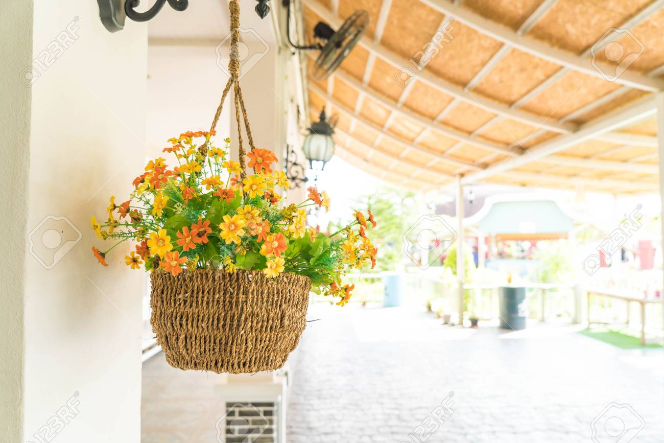 Hanging Flower Pot Decoration On Wall Stock Photo, Picture And ...