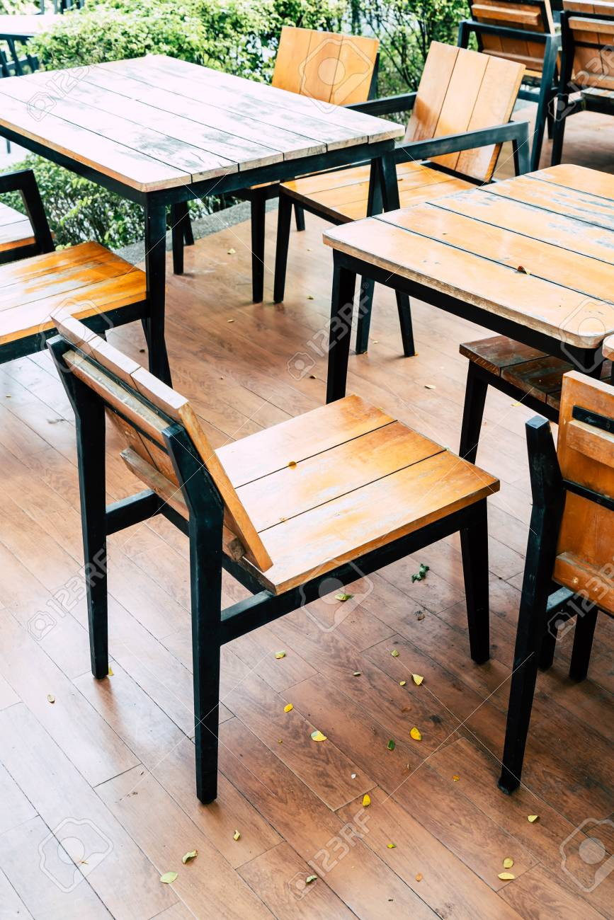 Empty Wood Table And Chair In Outdoor Restaurant Vintage Filter Stock Photo Picture And Royalty Free Image Image 96472721