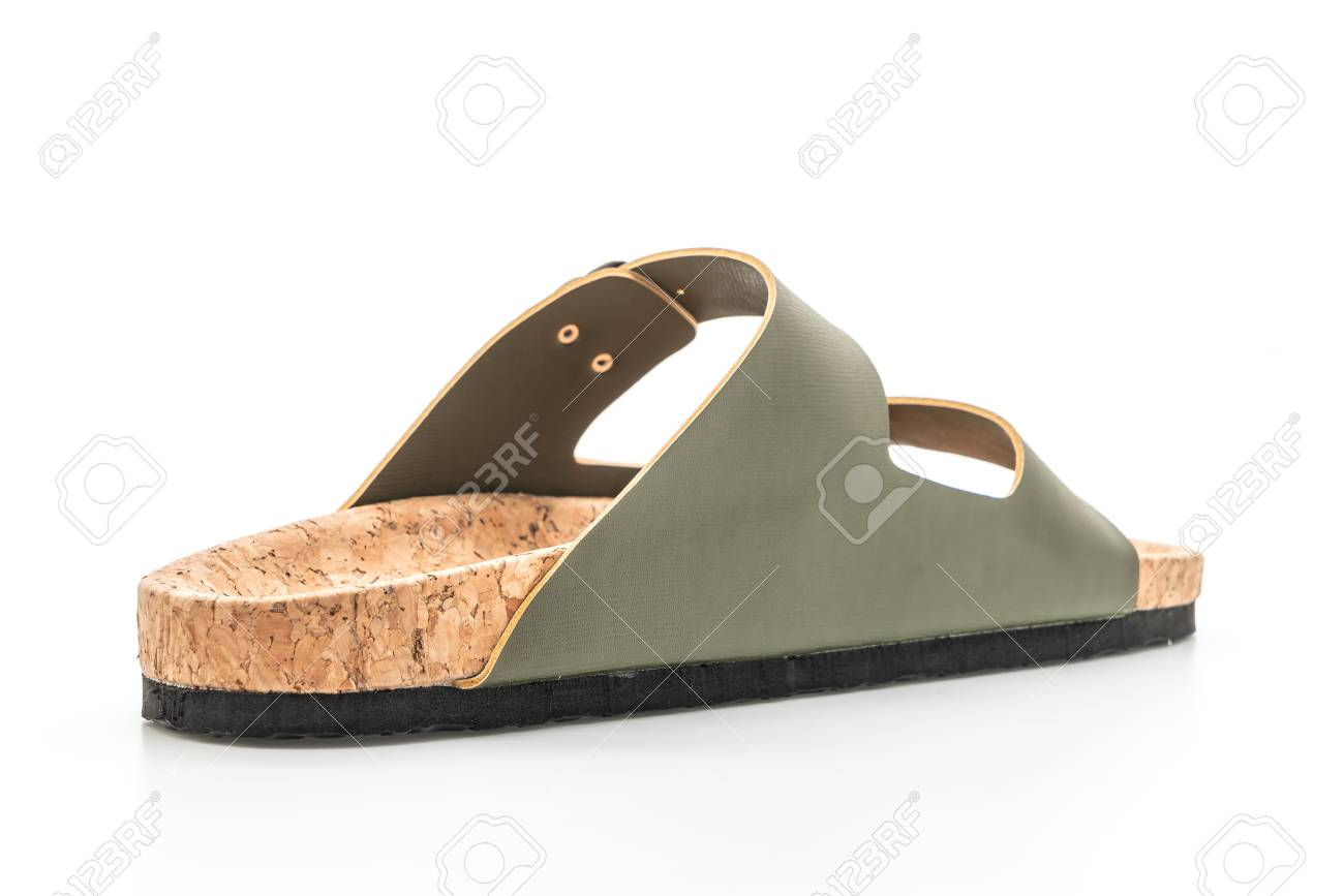 645d33965853f men s and women s (unisex) fashion leather sandals isolated on white  background Stock Photo -