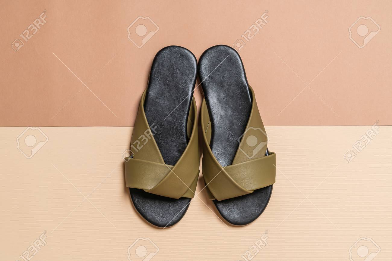 ba3839892 beautiful fashion female and woman leather sandals Stock Photo - 110987970