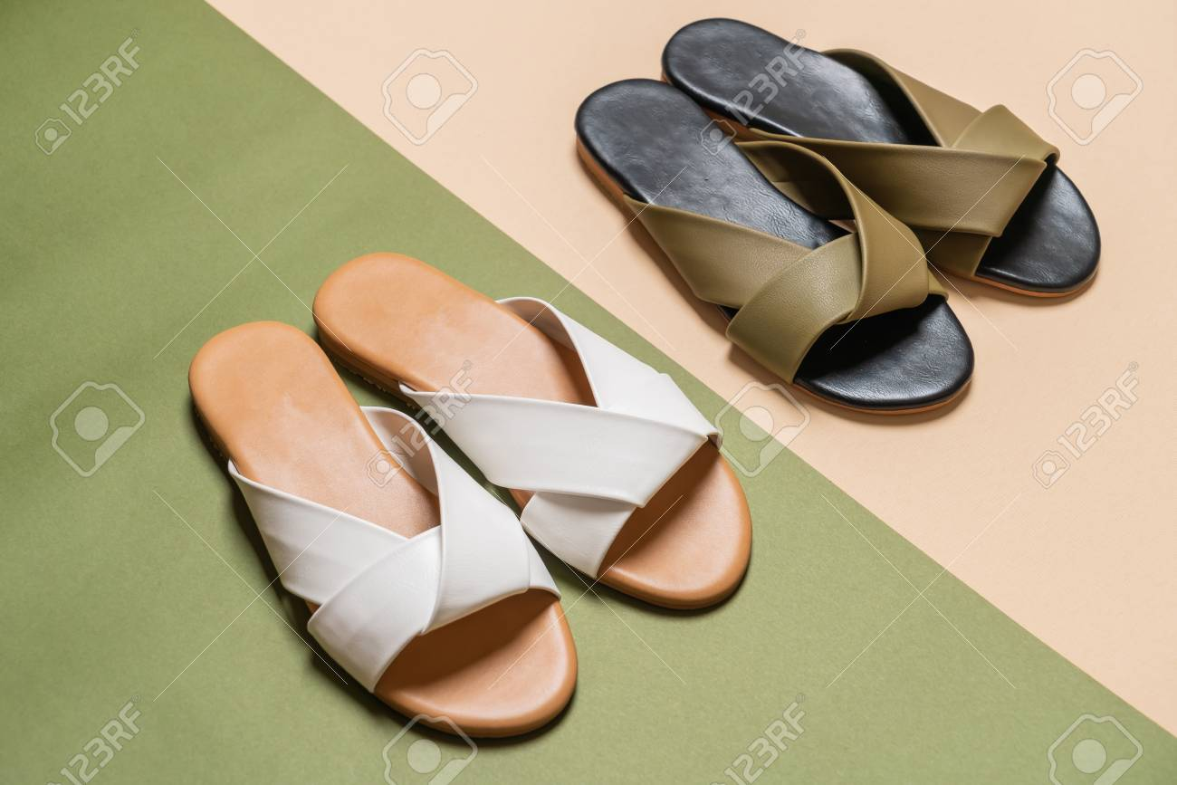 530d8e47d beautiful fashion female and woman leather sandals Stock Photo - 111213754