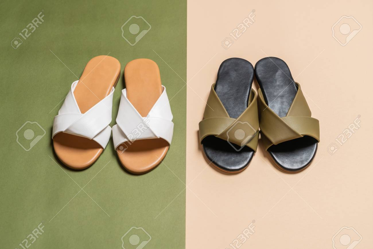 9a53c7391 beautiful fashion female and woman leather sandals Stock Photo - 111657524