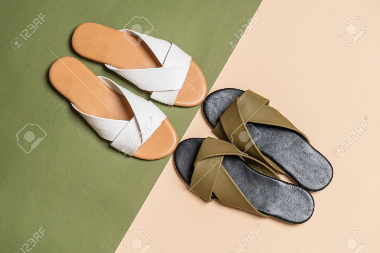 5be80ca3b beautiful fashion female and woman leather sandals Stock Photo - 113615062