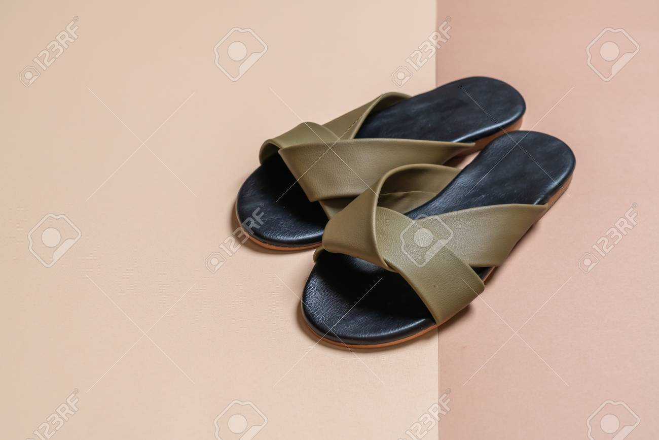 6c7f7b51c beautiful fashion female and woman leather sandals Stock Photo - 113842798