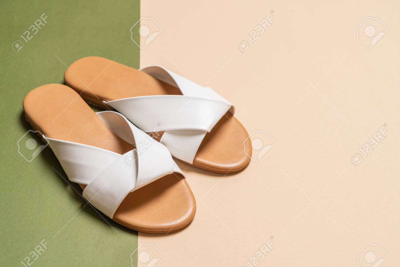 95eeef89e beautiful fashion female and woman leather sandals Stock Photo - 114252074