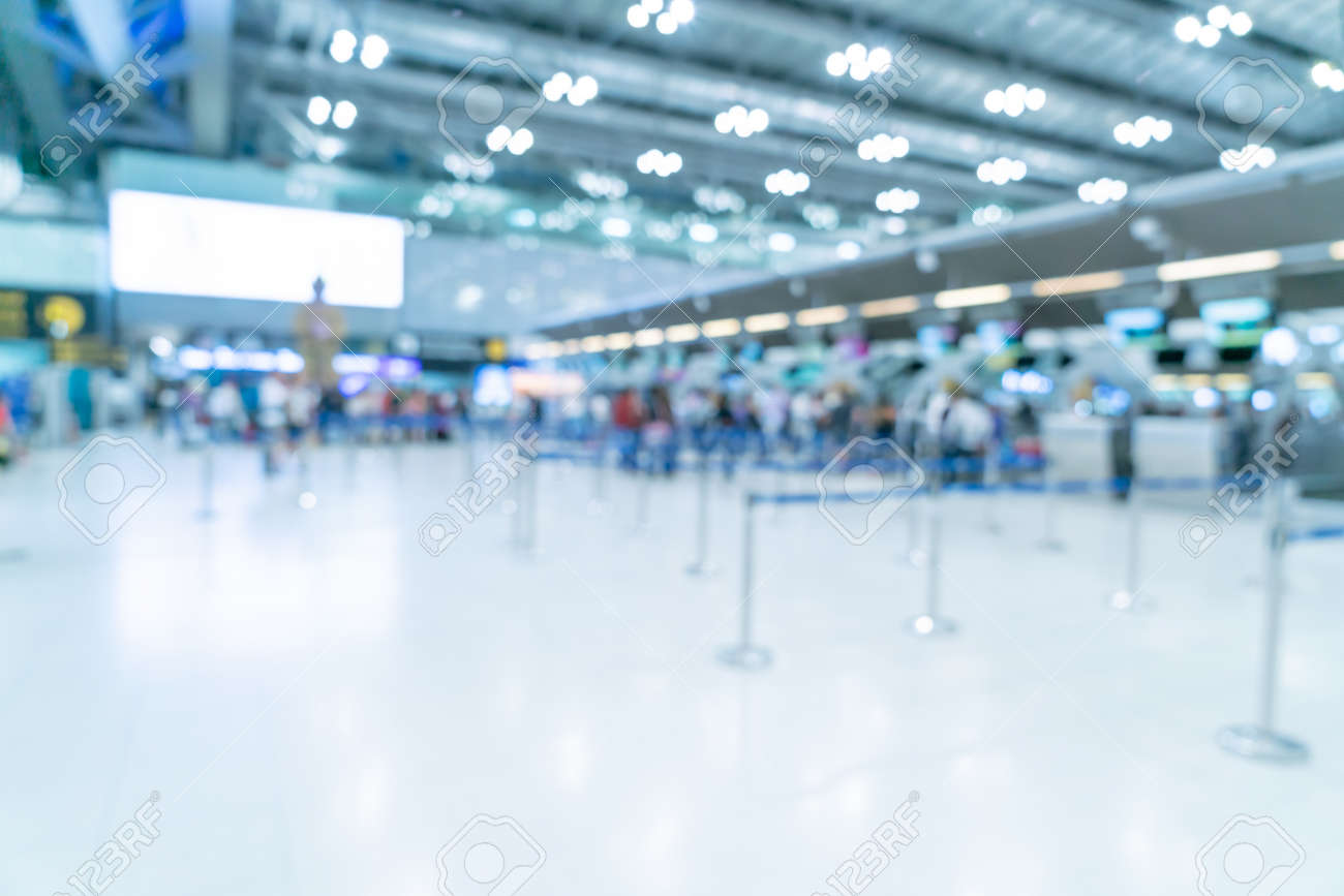Abstract blur and defocused airport terminal interior for background - 123392831