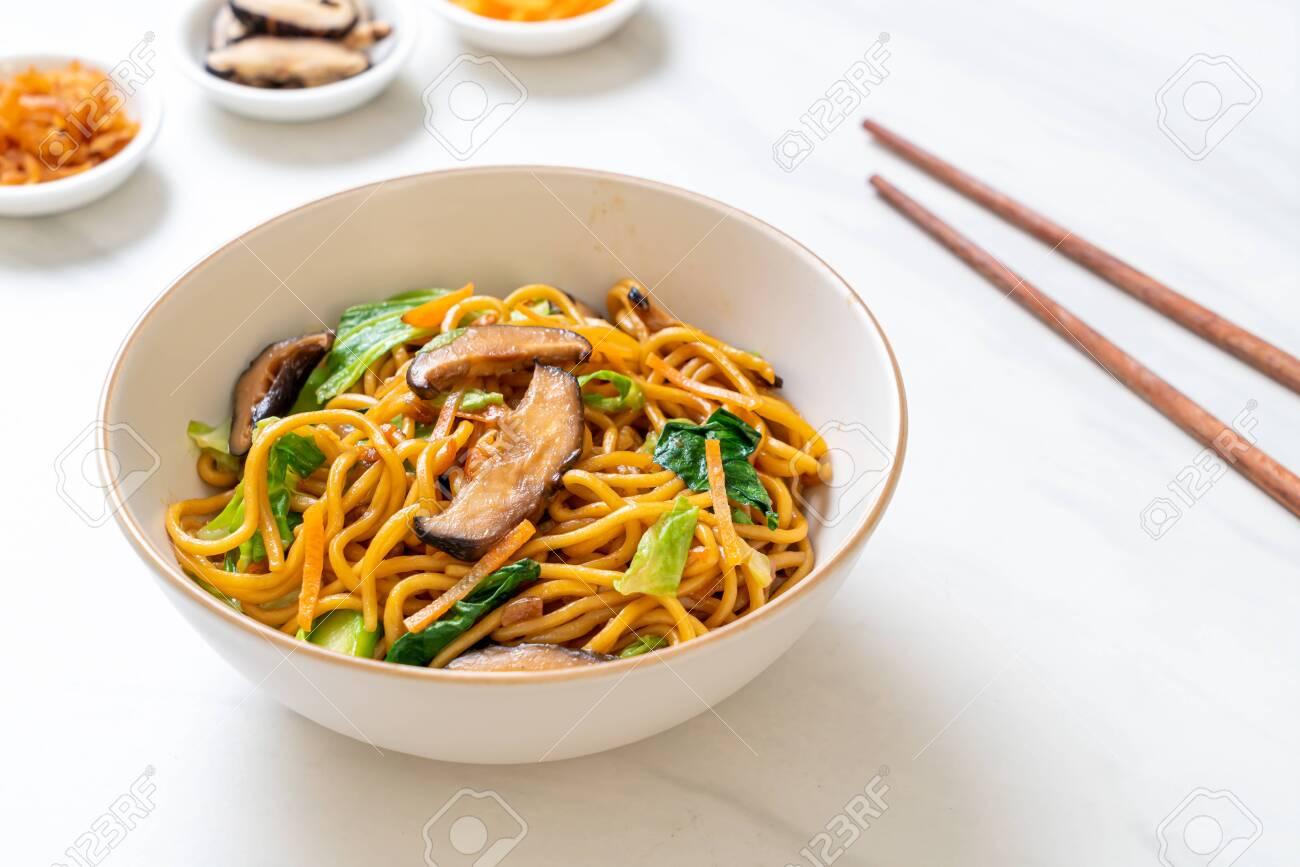 yakisoba noodles stir-fried with vegetable - vegan and vegetarian food - 131283456