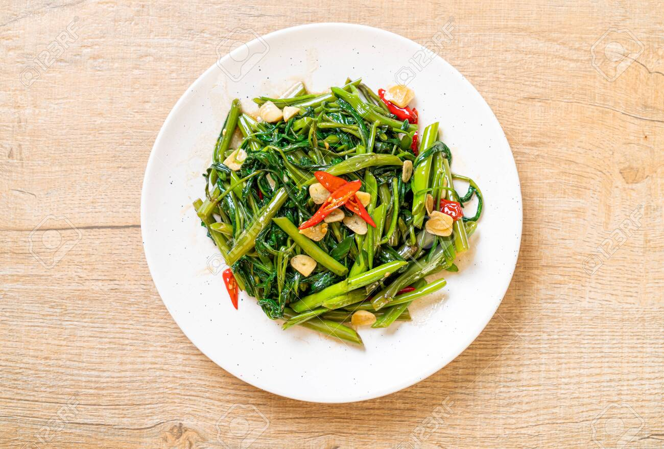 Stir-Fried Chinese Morning Glory or Water Spinach - Asian food style - 135503377