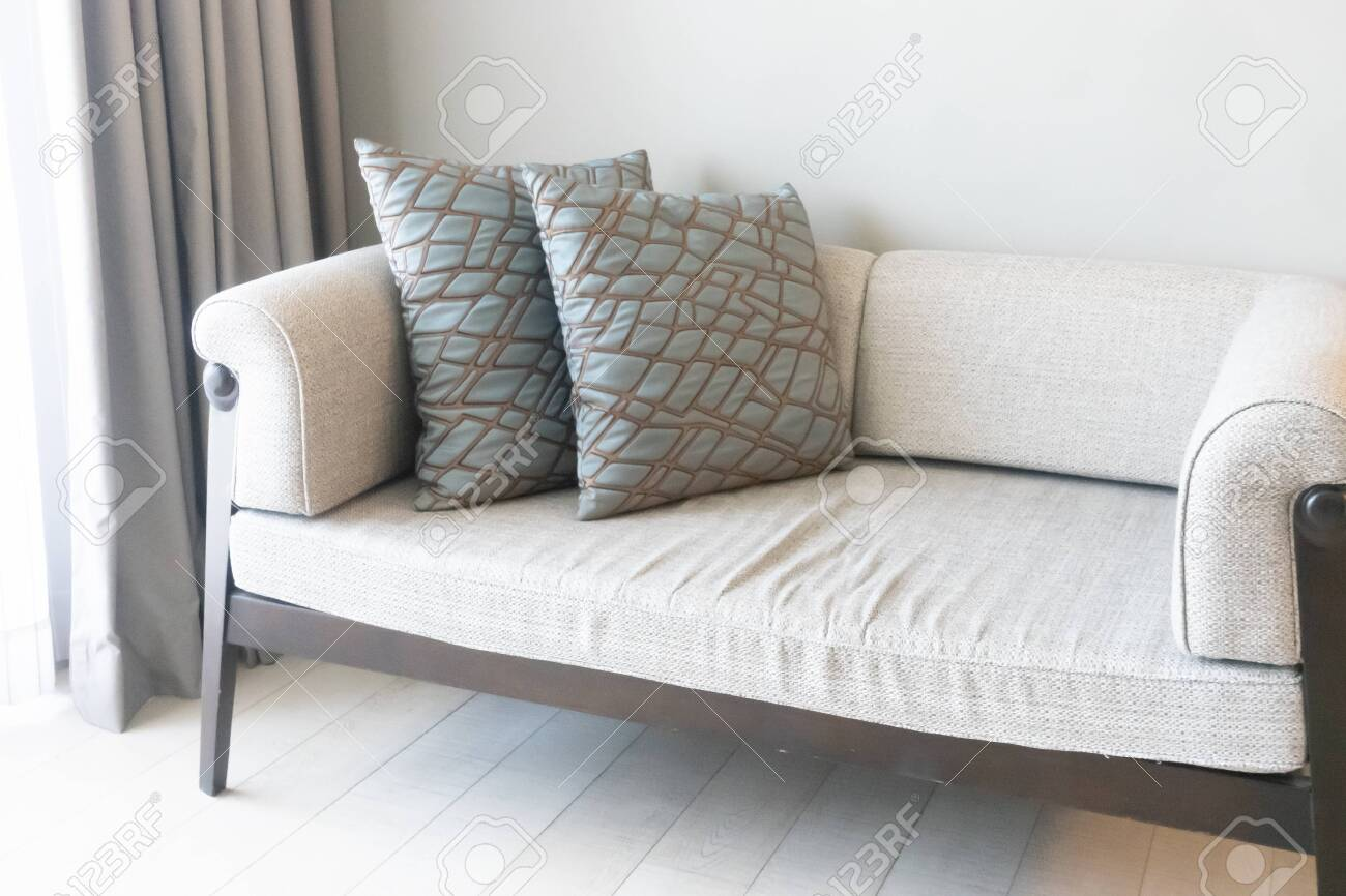 beautiful pillows decoration on sofa in living room interior - 136083528
