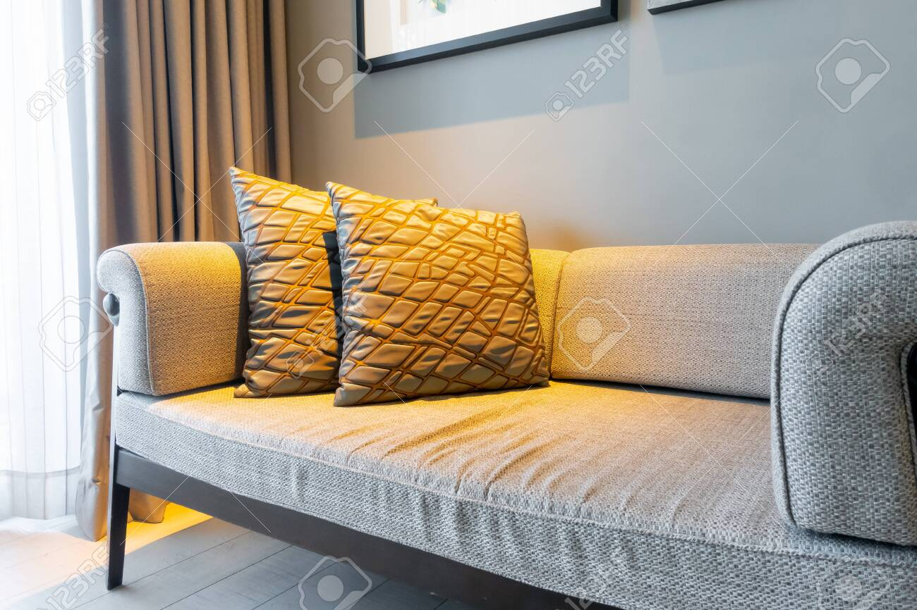 beautiful pillows decoration on sofa in living room interior - 136951663