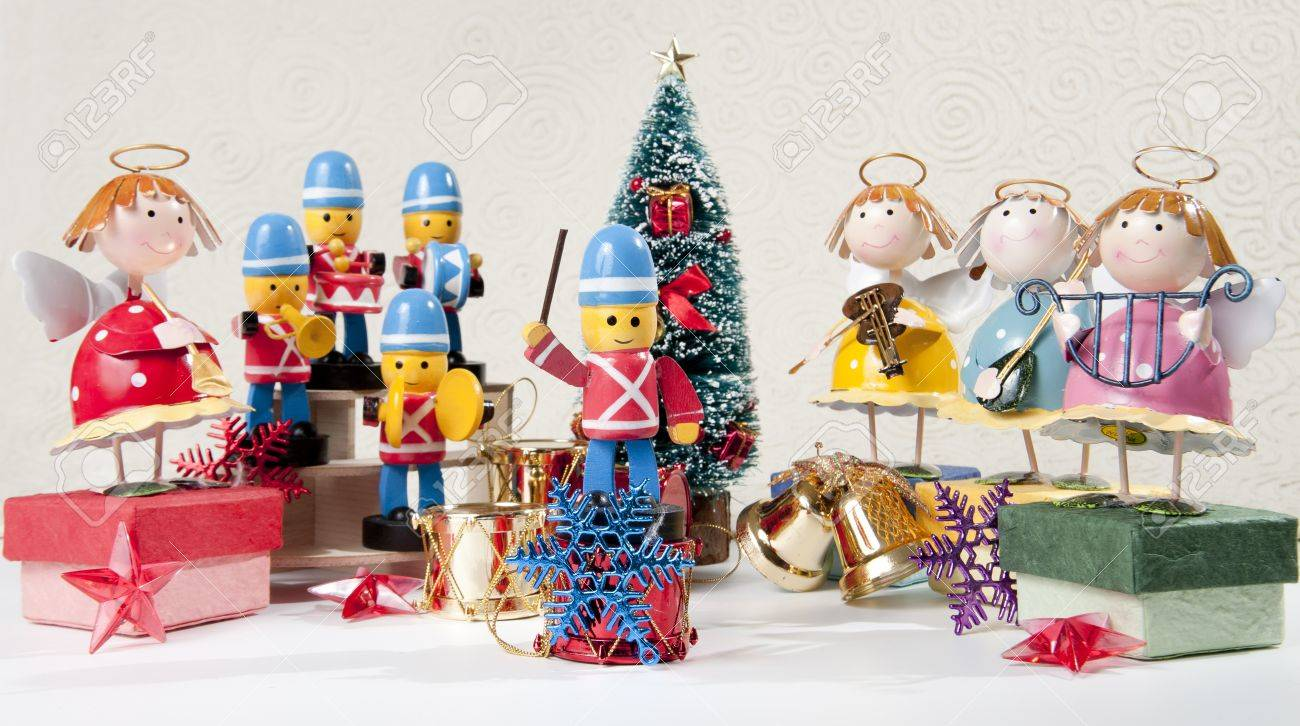 Marvelous Marching Band Christmas Ornaments Part - 9: Marching Band Play Christmas Music With Angel Band Stock Photo - 8385406