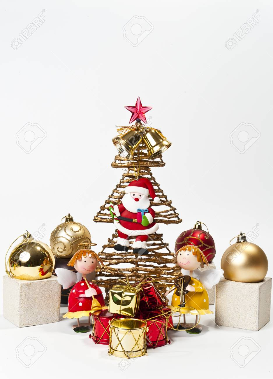 Two Angels wiht Christmas tree Stock Photo - 8387485