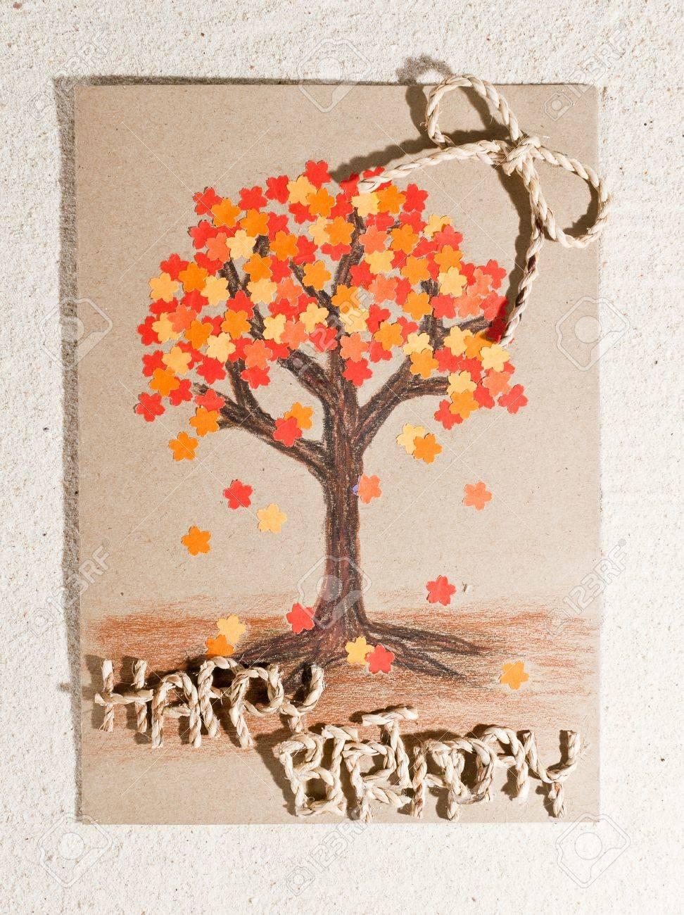 Handmade Happy Birthday Card Isolated On Sand Background – Handmade Happy Birthday Cards