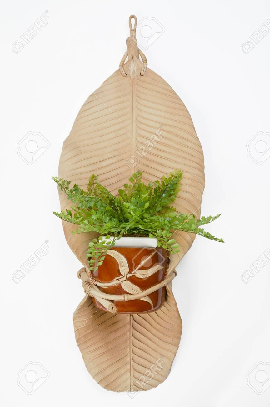feuille de bananier poterie sec avec pot de fleurs isolé sur fond