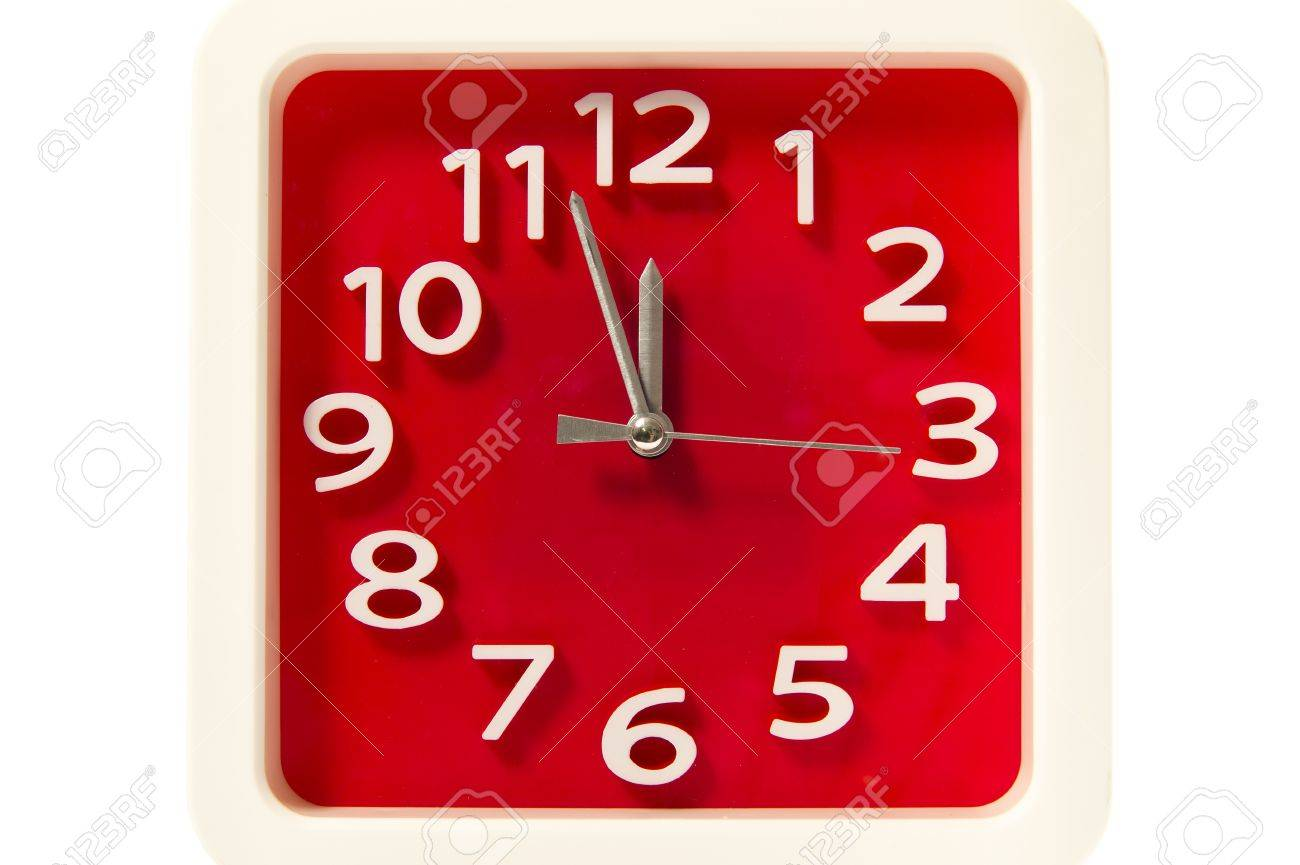 Red square clock isolated on white background Stock Photo - 19835419