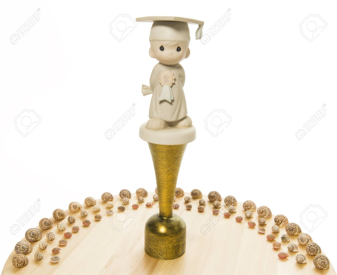 Congratulations Trophy with sea shell half circle Stock Photo - 20761578