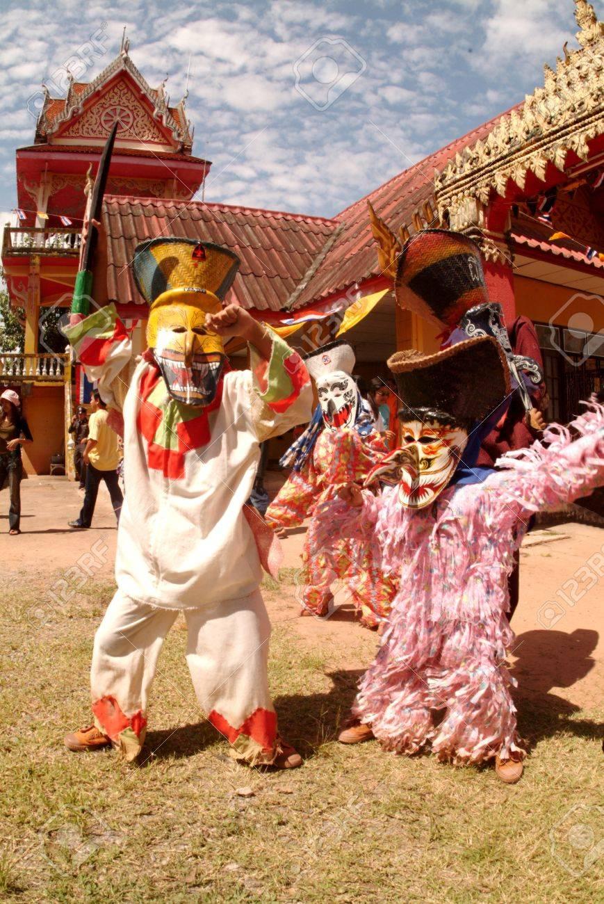 LOEI, THAILAND - JULY 1 People Dress In Spirit And Wear A Mask ...