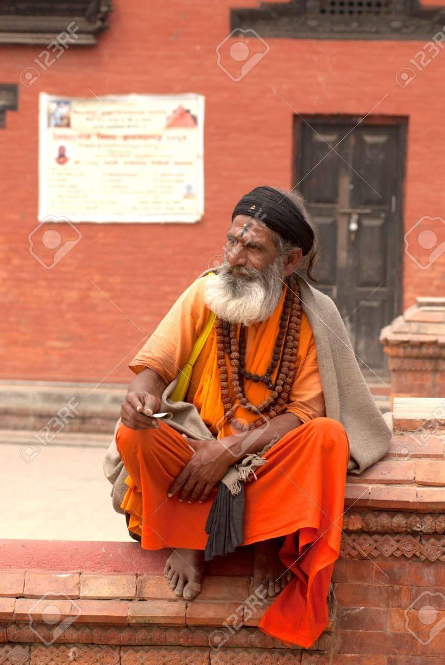 KATHMANDU,NEPAL-MAR CH 15  A Sadhu at Pashupatinath Temple in Kathmandu, Nepal on March 15, 2012  The two primary sectarian divisions in sadhu community are Shaiva sadhus and Vaishnava sadhus   Stock Photo - 15744900