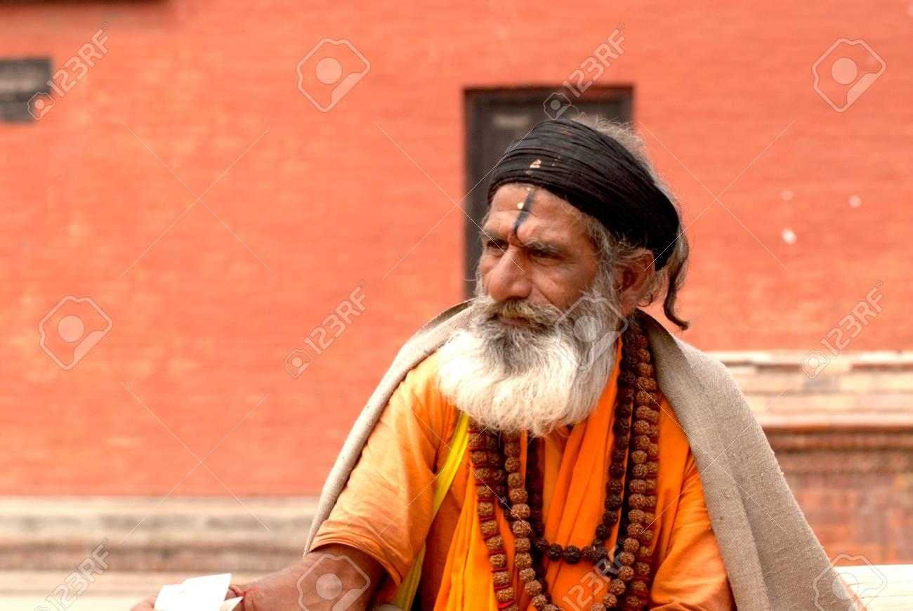 KATHMANDU,NEPAL-MAR CH 15  A Sadhu at Pashupatinath Temple in Kathmandu, Nepal on March 15, 2012  The two primary sectarian divisions in sadhu community are Shaiva sadhus and Vaishnava sadhus   Stock Photo - 15744896