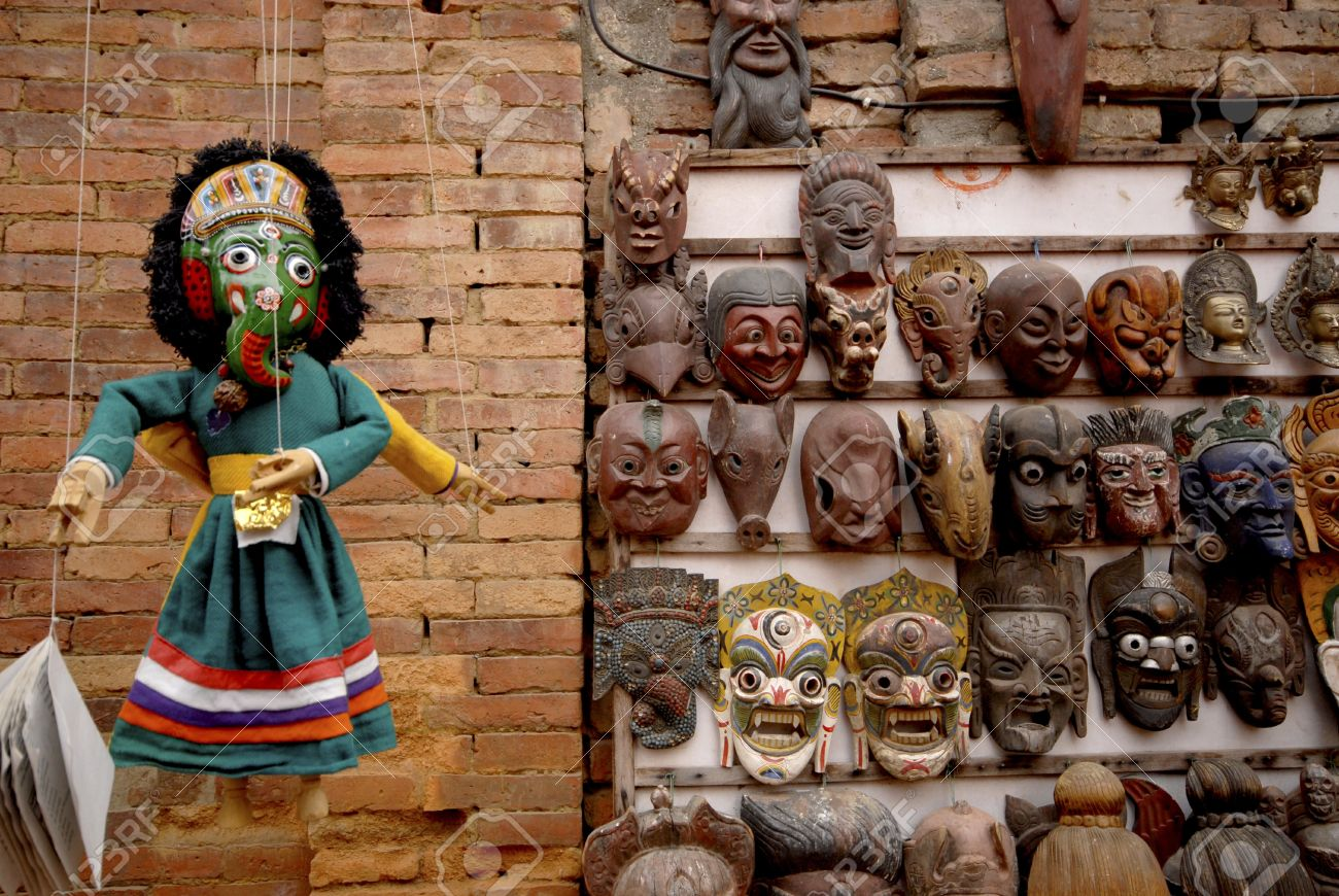 Doll and wooden masks on sale in Kathmandu city ,Nepal