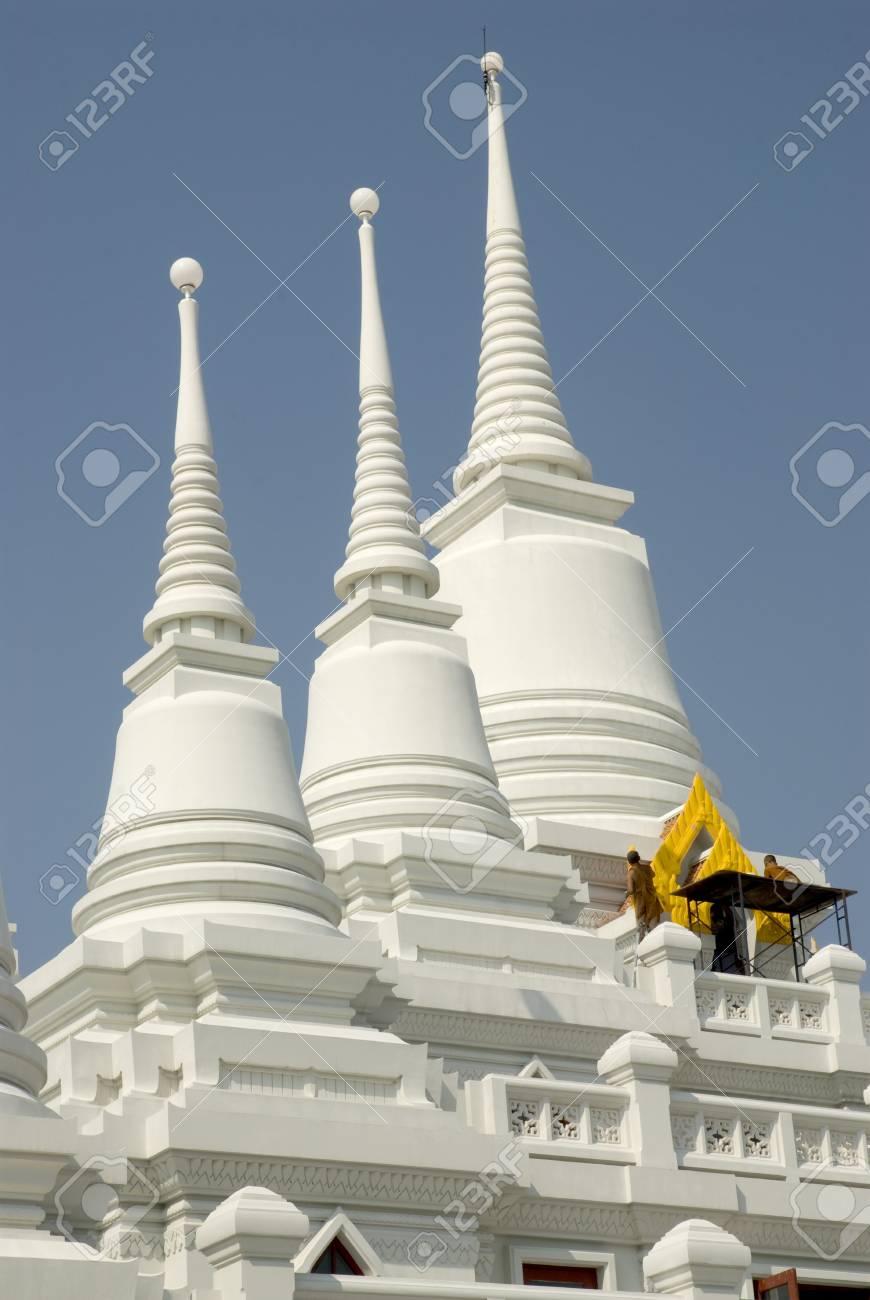 White stupa in Thai temple ,Middle of Thailand Stock Photo - 16253145