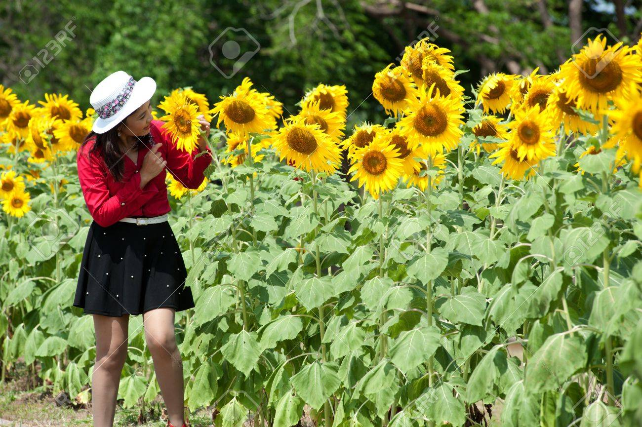 Pretty Asian woman in red dress in a sunflower field Stock Photo - 16901788