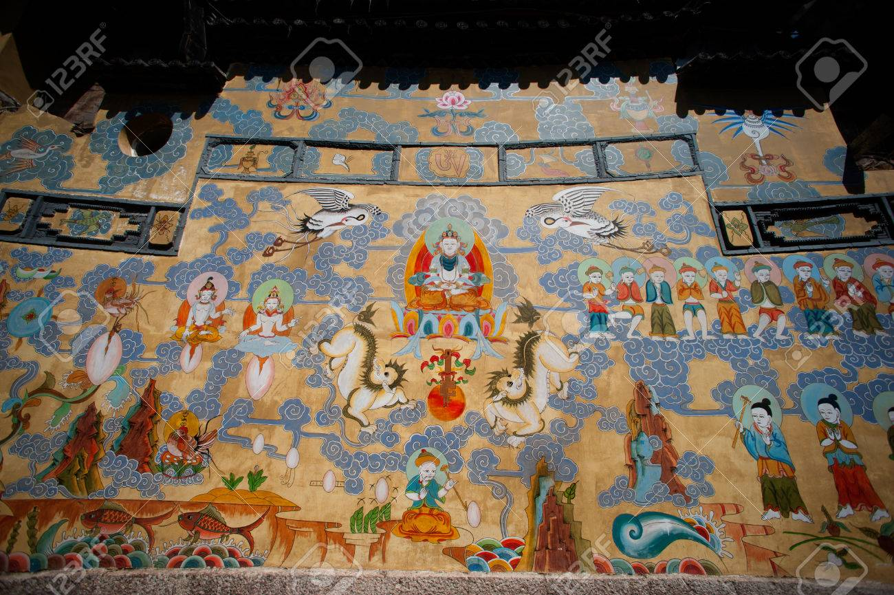 Southwestern wall murals todosobreelamorfo southwestern wall murals tibetan murals on building wall in dayan town lijiang amipublicfo Choice Image