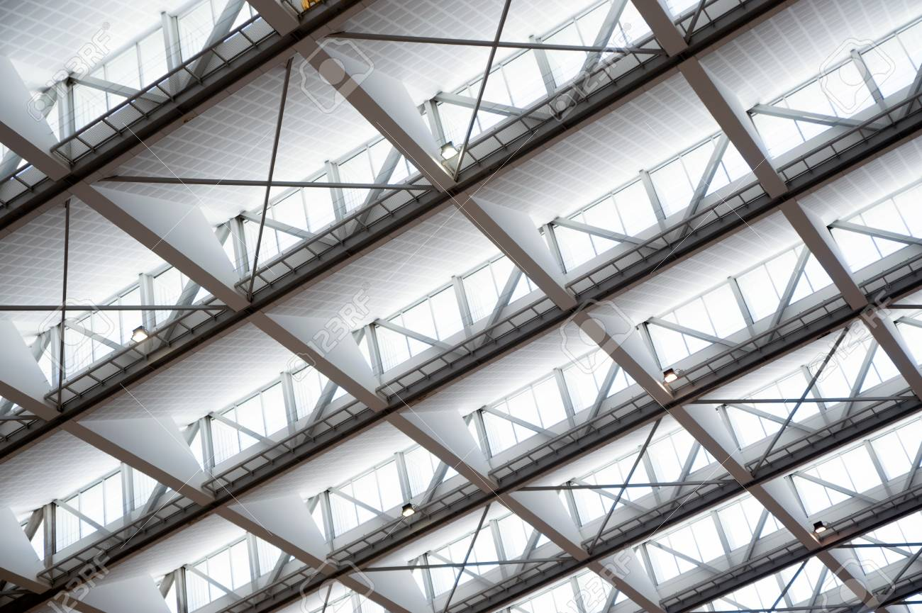 Giant Glass Roof Texture May Be Used As A Background Stock Photo